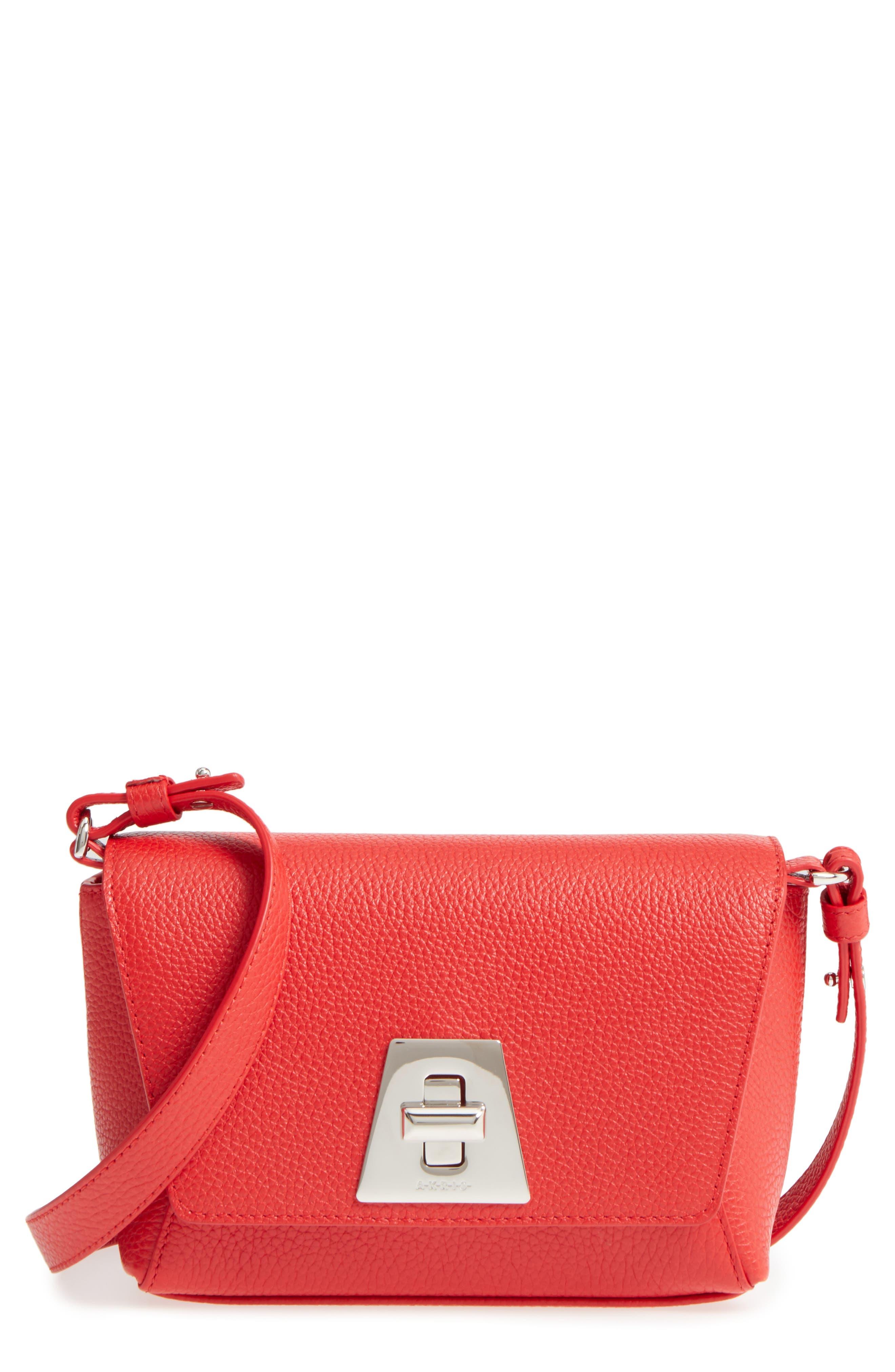 Little Anouk Calfskin Crossbody Bag,                             Main thumbnail 1, color,                             Scarlet