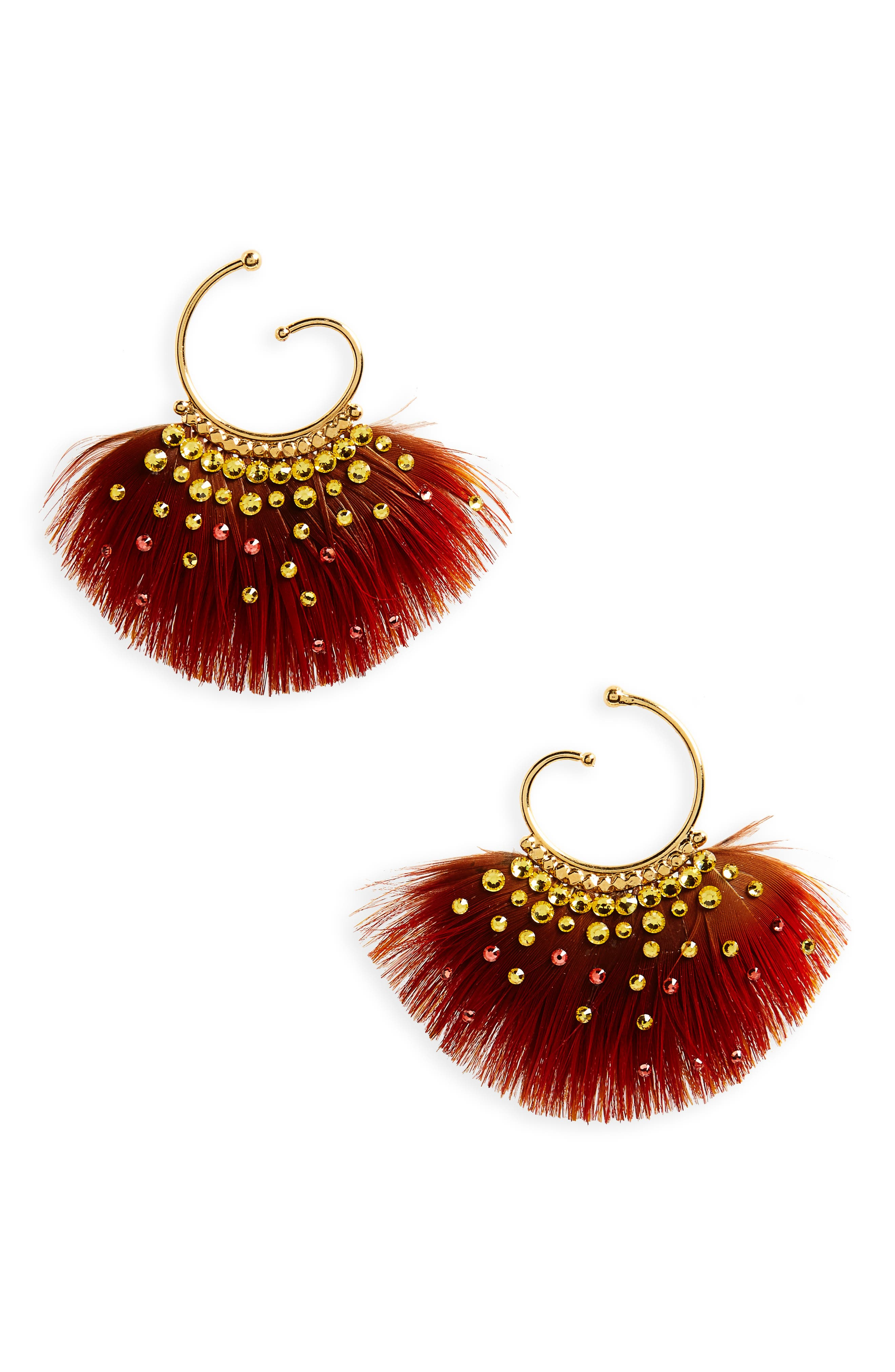 Buzios Small Feather Earrings,                         Main,                         color, Orange/ Gold