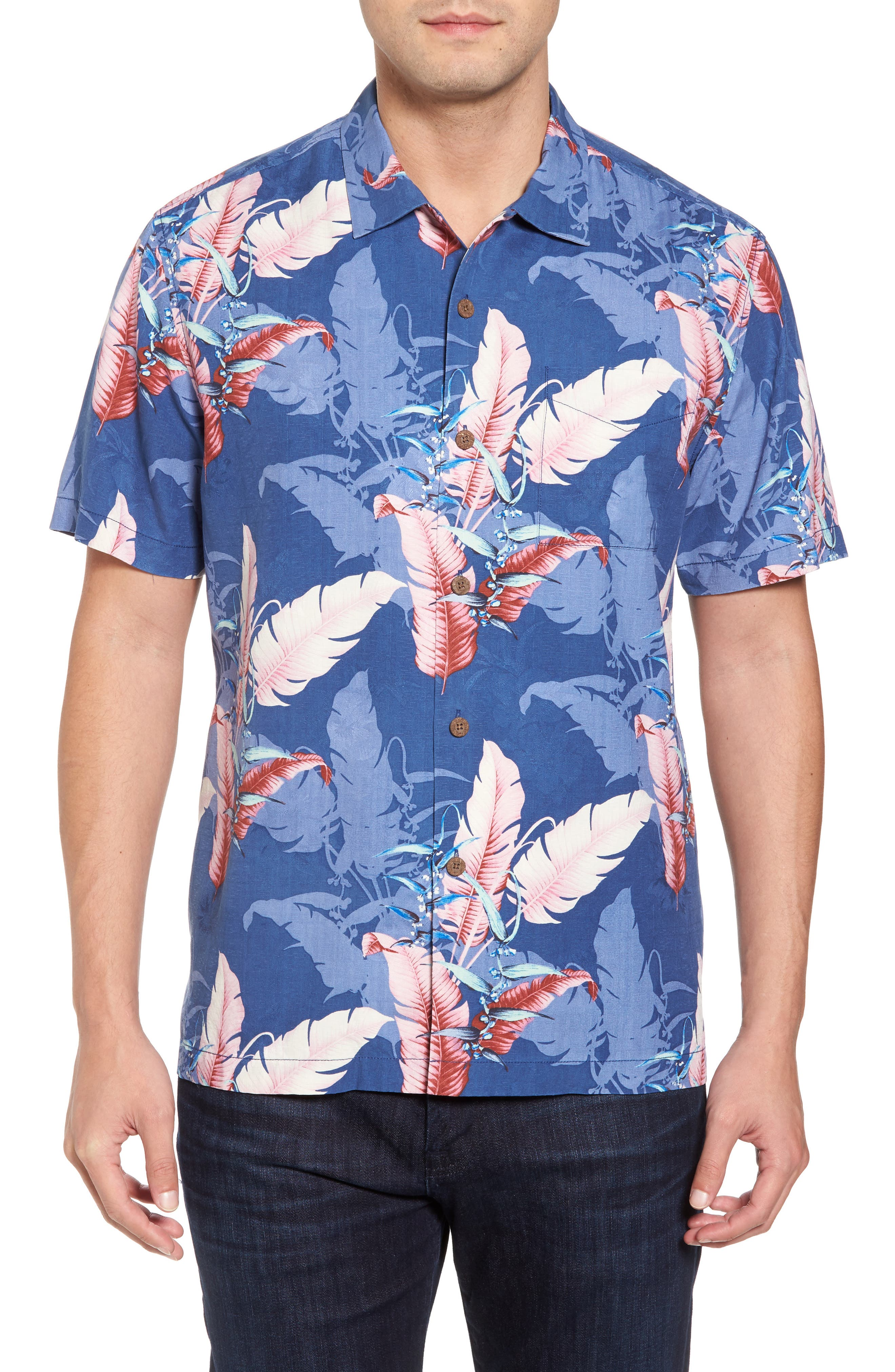 Shadow Fronds Silk Camp Shirt,                             Main thumbnail 1, color,                             Dockside Blue