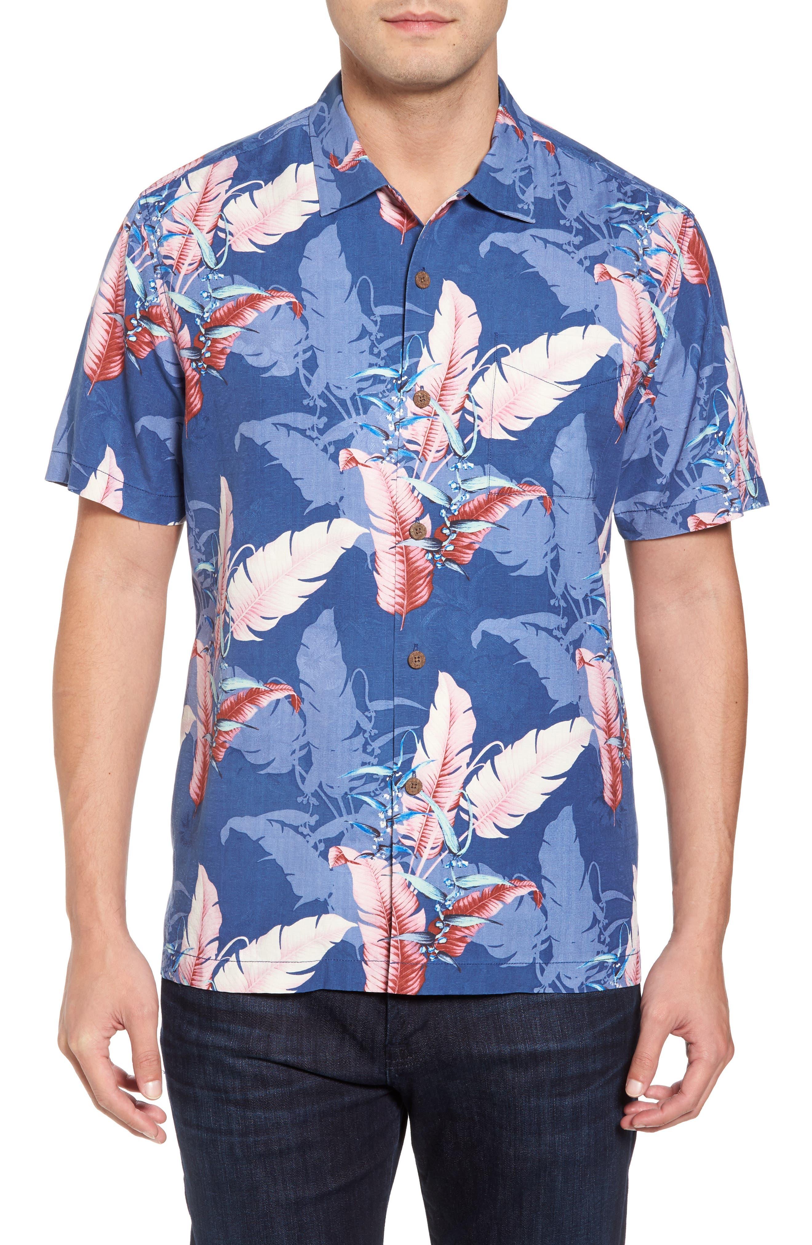 Shadow Fronds Silk Camp Shirt,                         Main,                         color, Dockside Blue