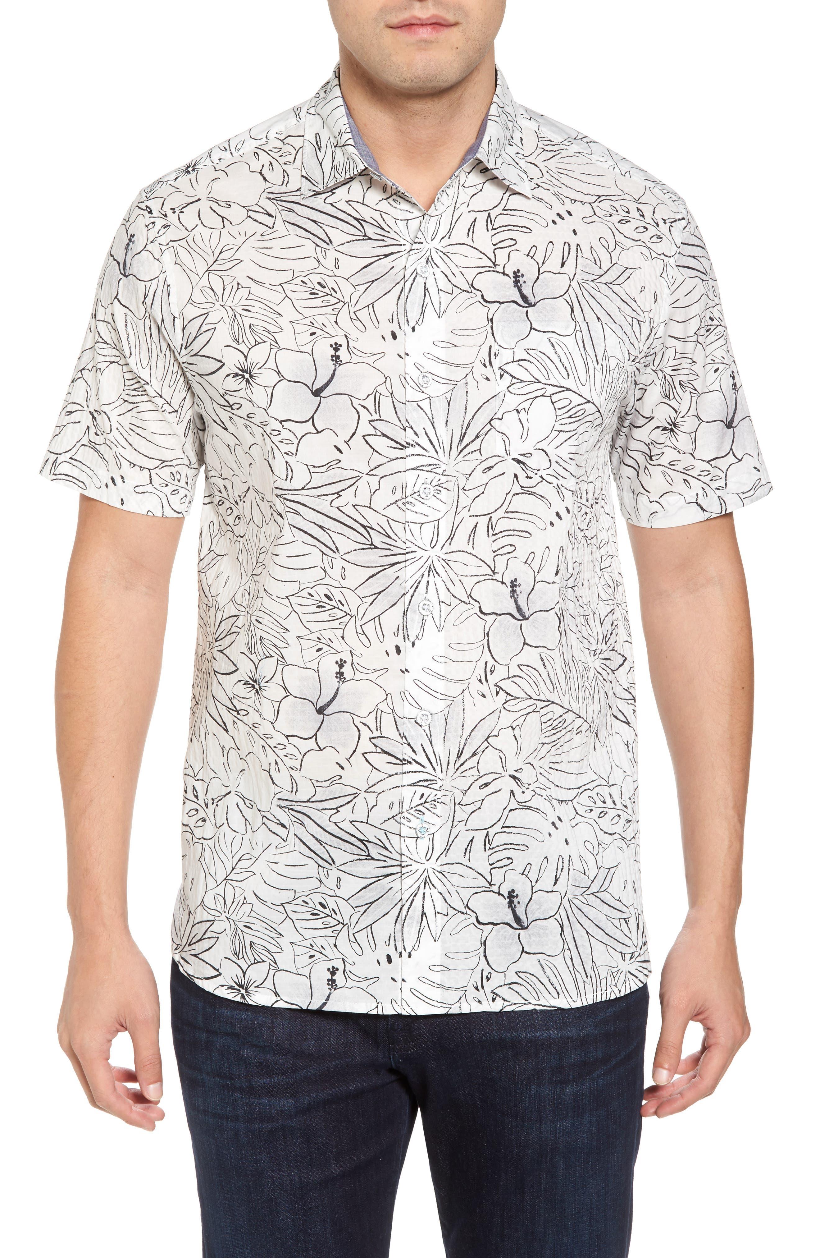 Sarasota Sketch Standard Fit Stretch Cotton Camp Shirt,                         Main,                         color, White