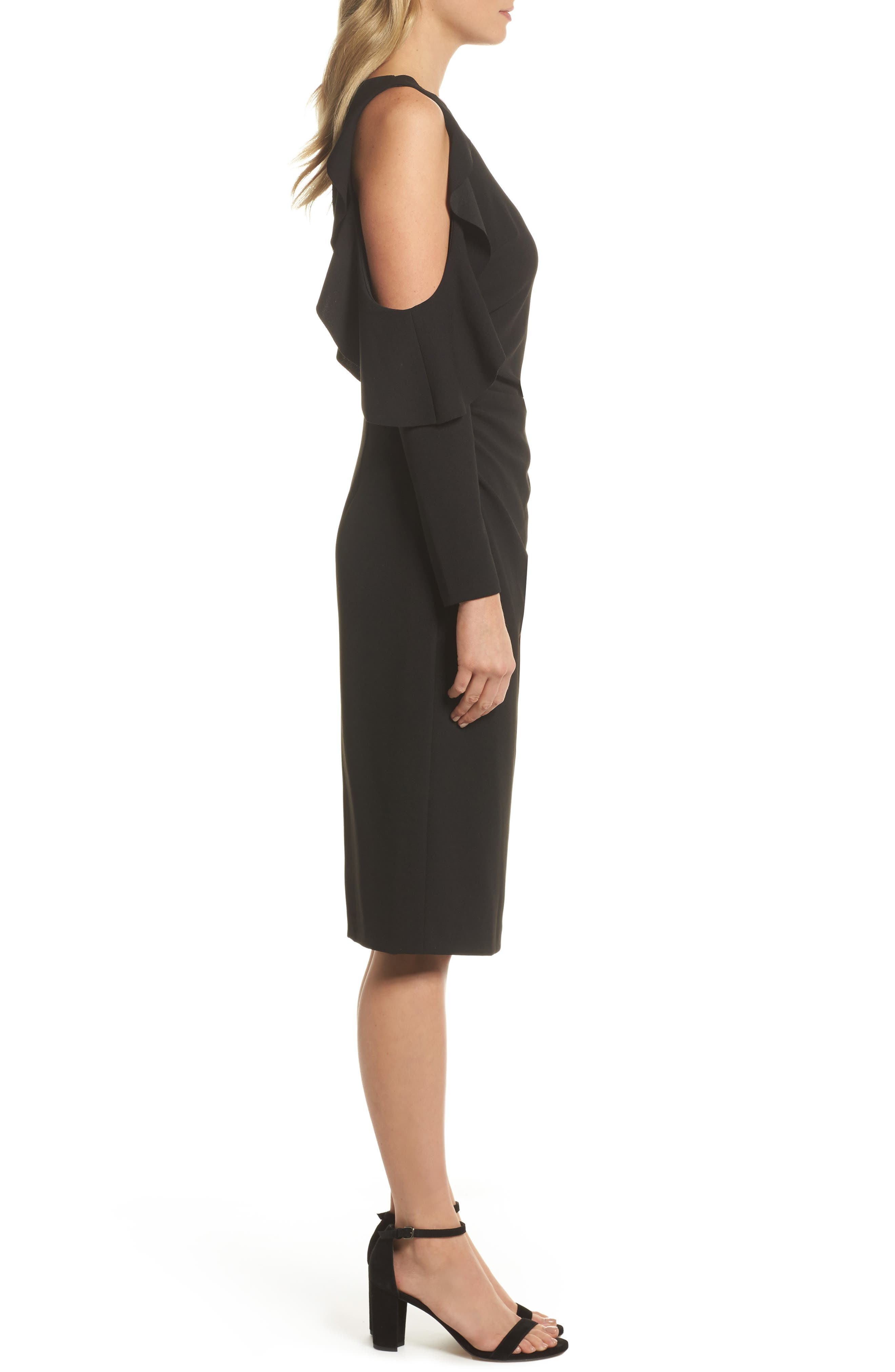 Cold Shoulder Midi Dress,                             Alternate thumbnail 3, color,                             Black