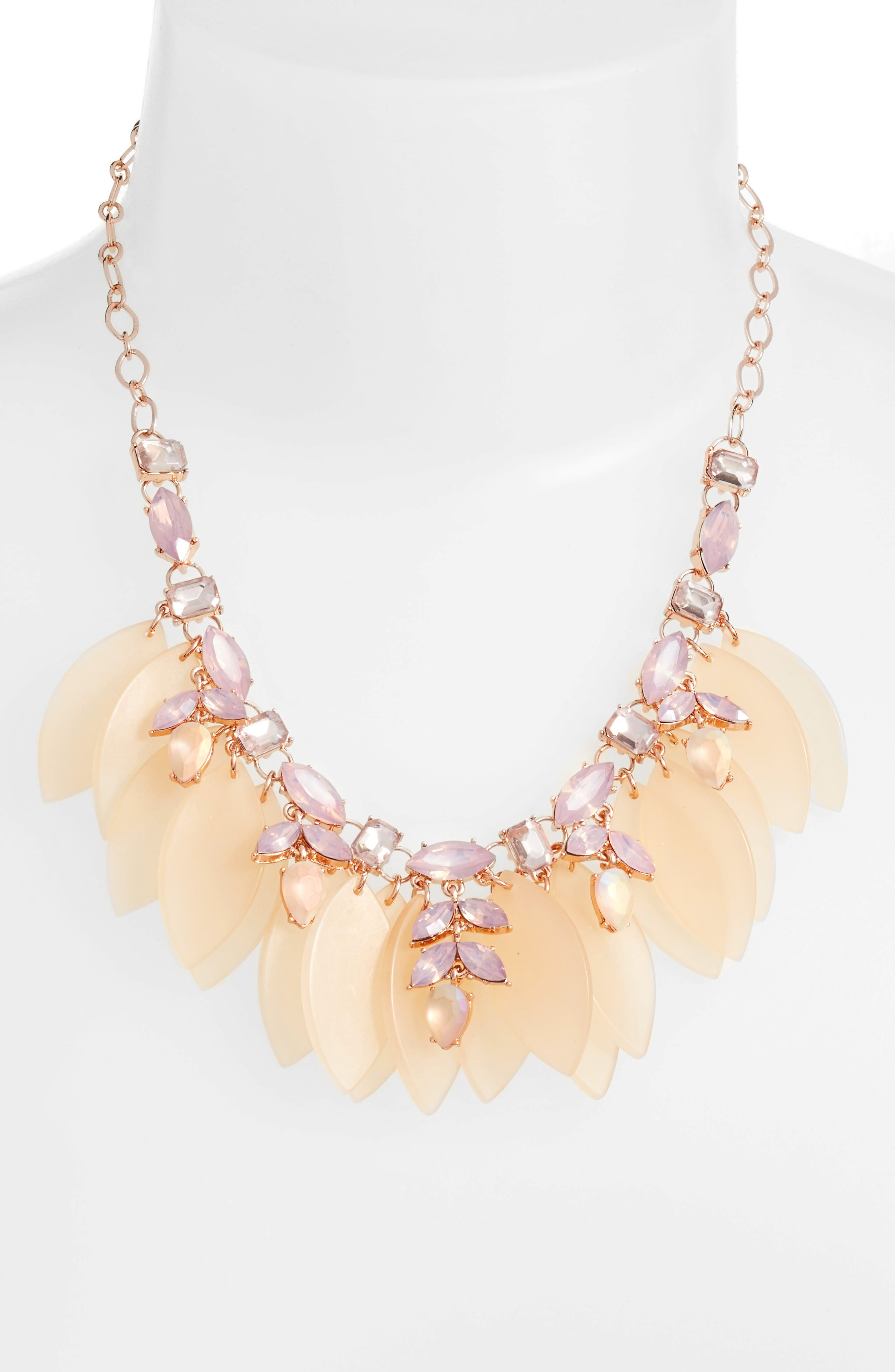 Petal & Stone Collar Necklace,                             Alternate thumbnail 2, color,                             Pink Multi- Rose Gold
