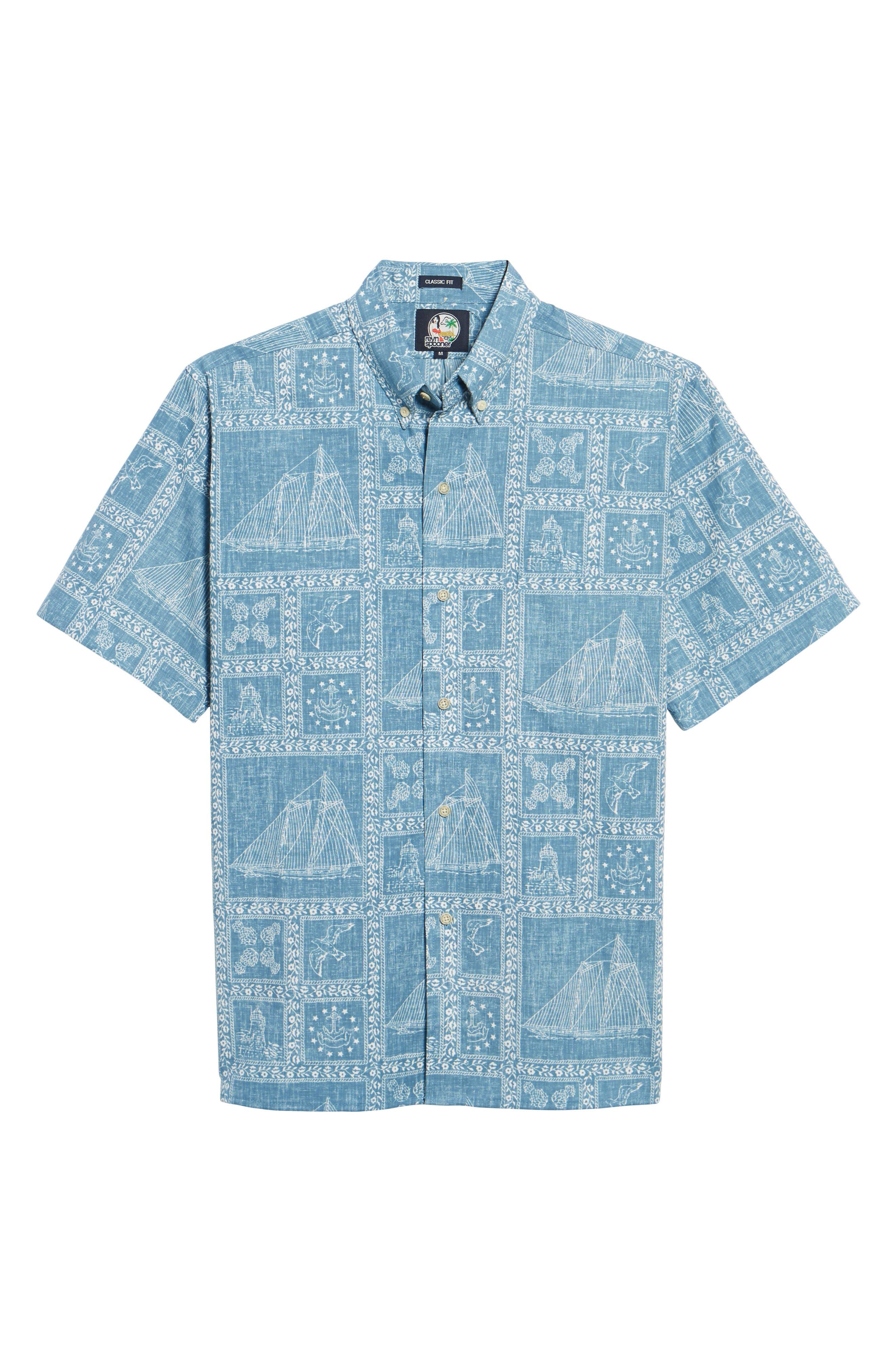 Newport Sailor Classic Fit Print Sport Shirt,                             Alternate thumbnail 6, color,                             Denim