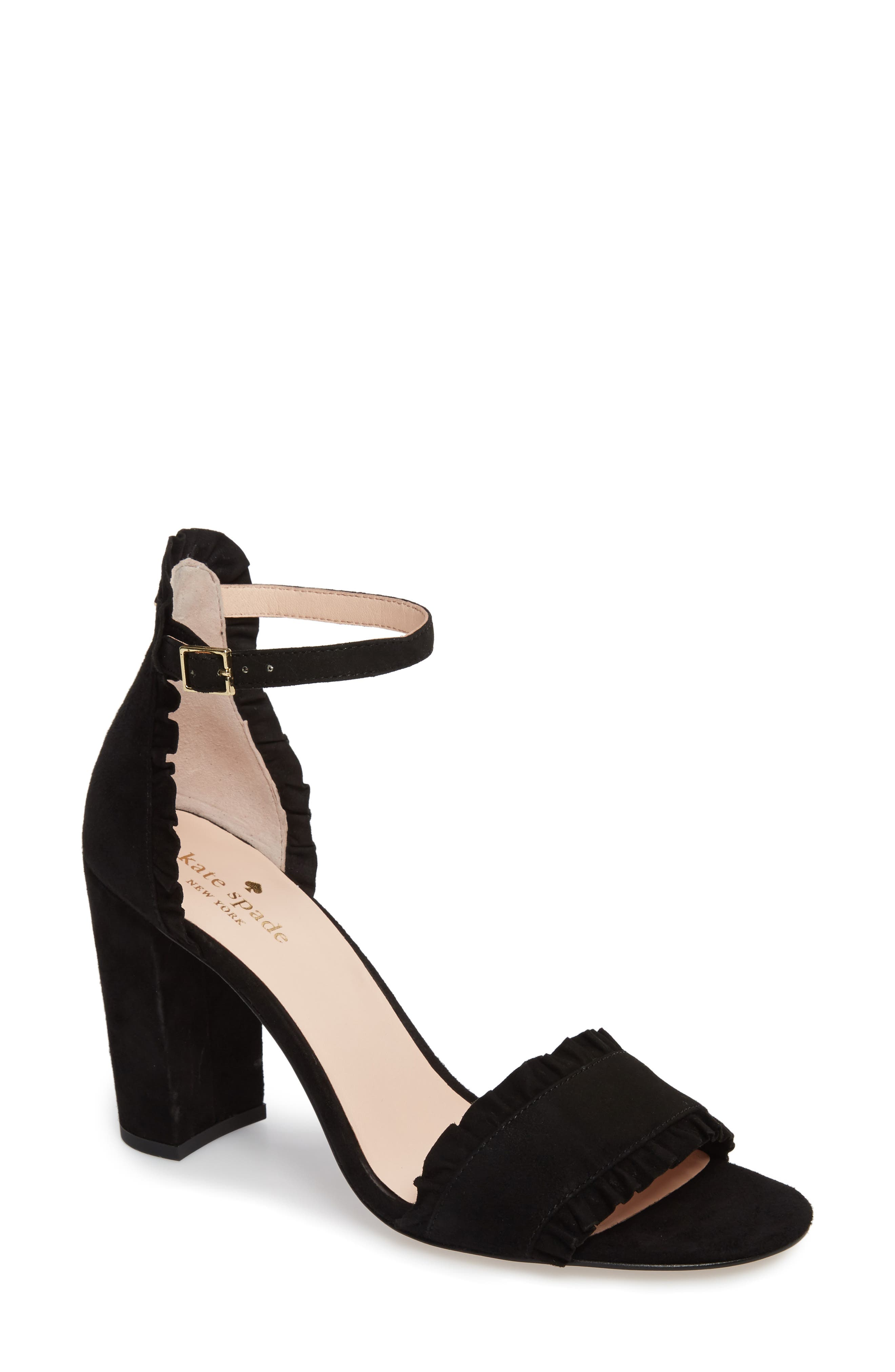 odele ruffle sandal,                             Main thumbnail 1, color,                             Black Suede