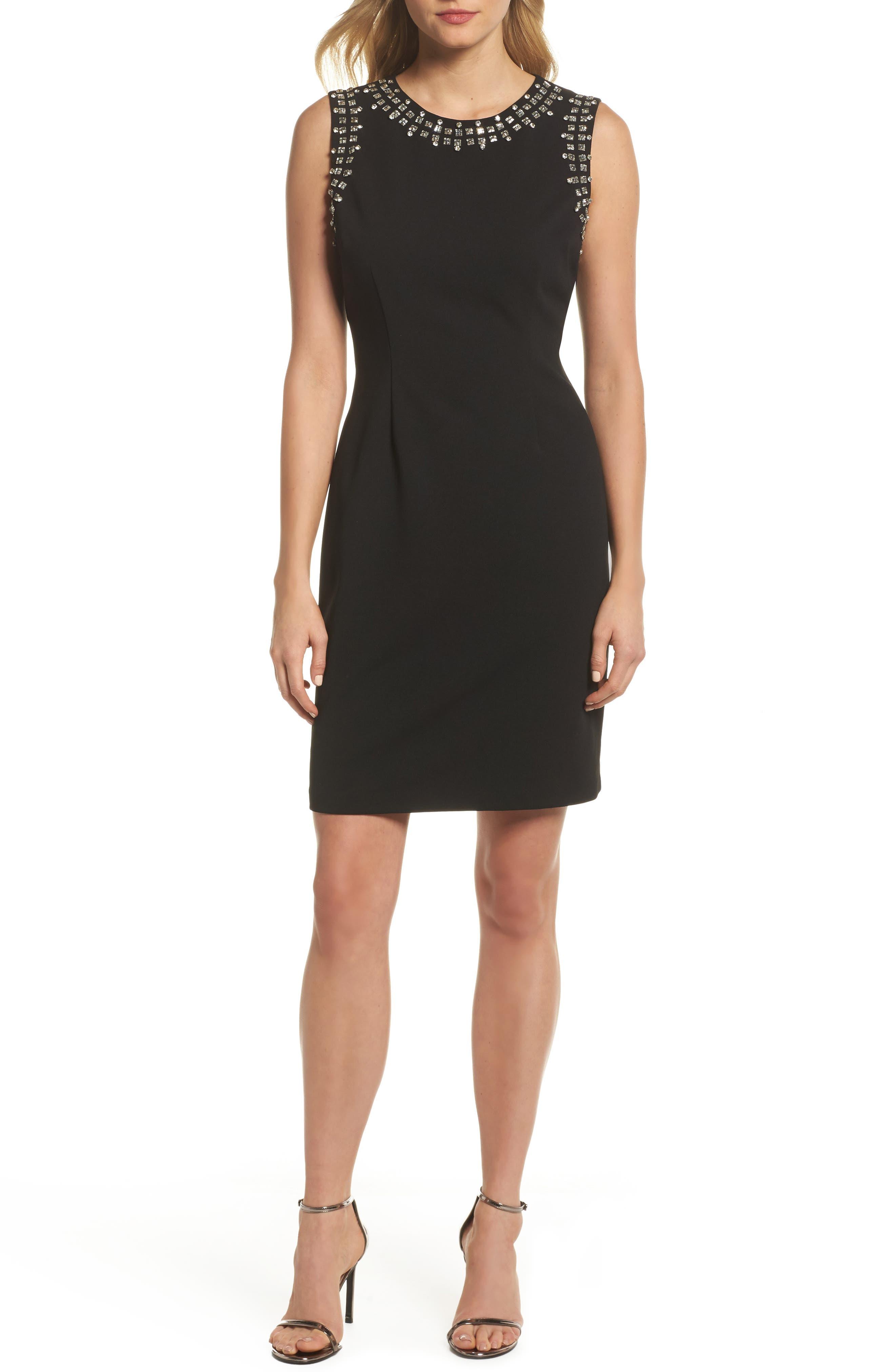 Bead Embellished Crepe Shift Dress,                             Main thumbnail 1, color,                             Black