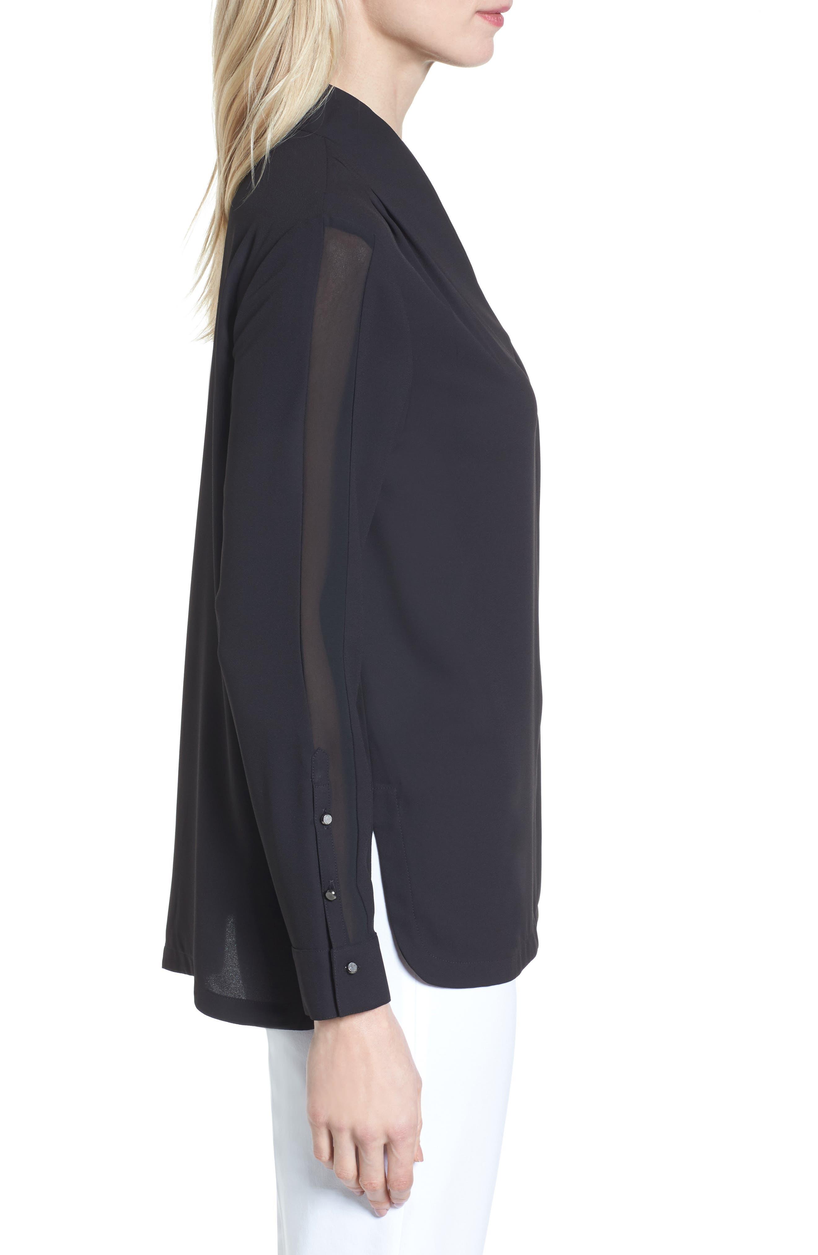 Split Collar Stripe Sleeve Blouse,                             Alternate thumbnail 3, color,                             Black