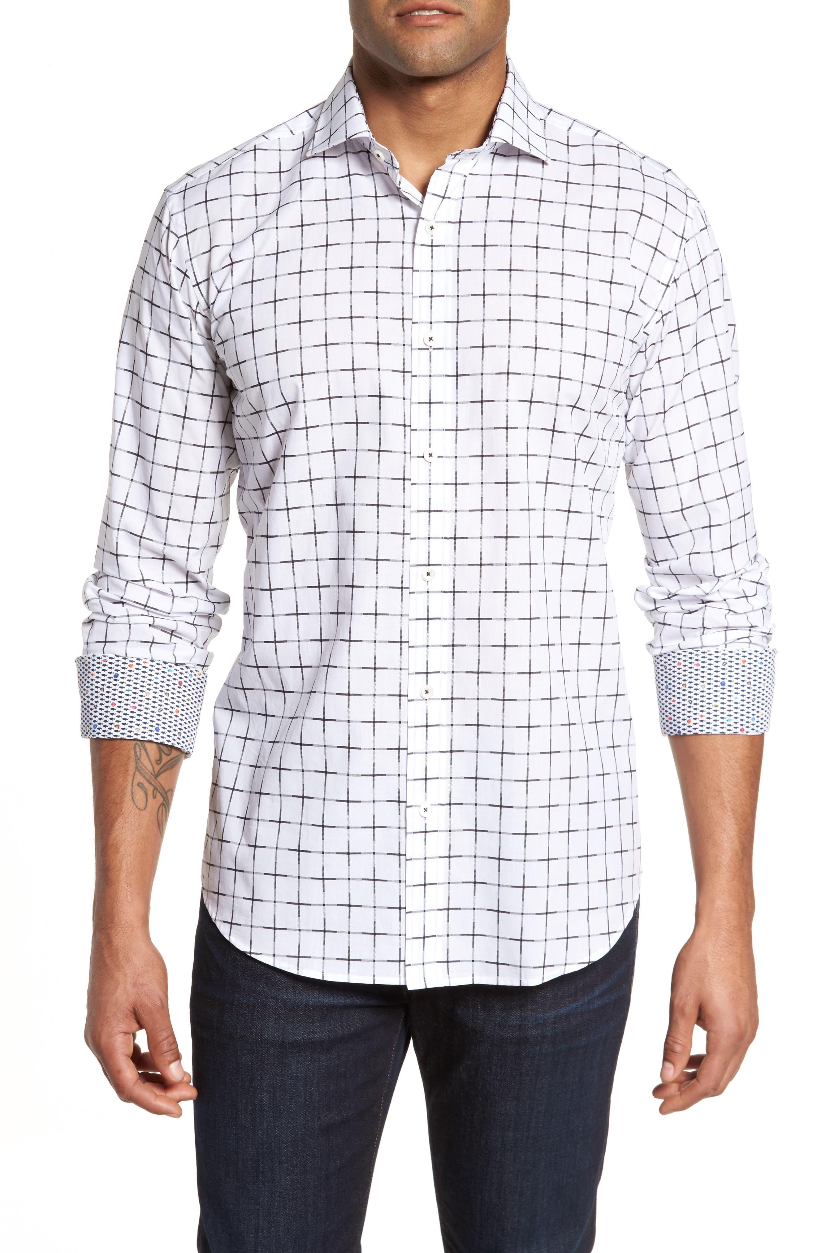 Shaped Fit Print Sport Shirt,                             Main thumbnail 1, color,                             White