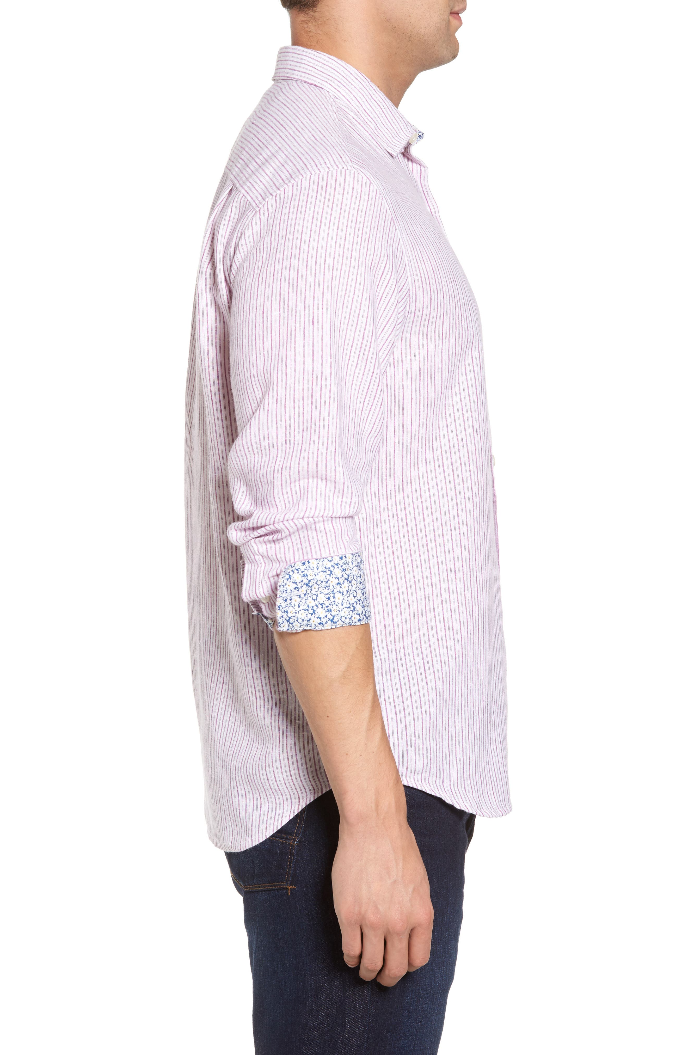 Alternate Image 3  - Tommy Bahama Bungalow Stripe Regular Fit Linen Blend Sport Shirt