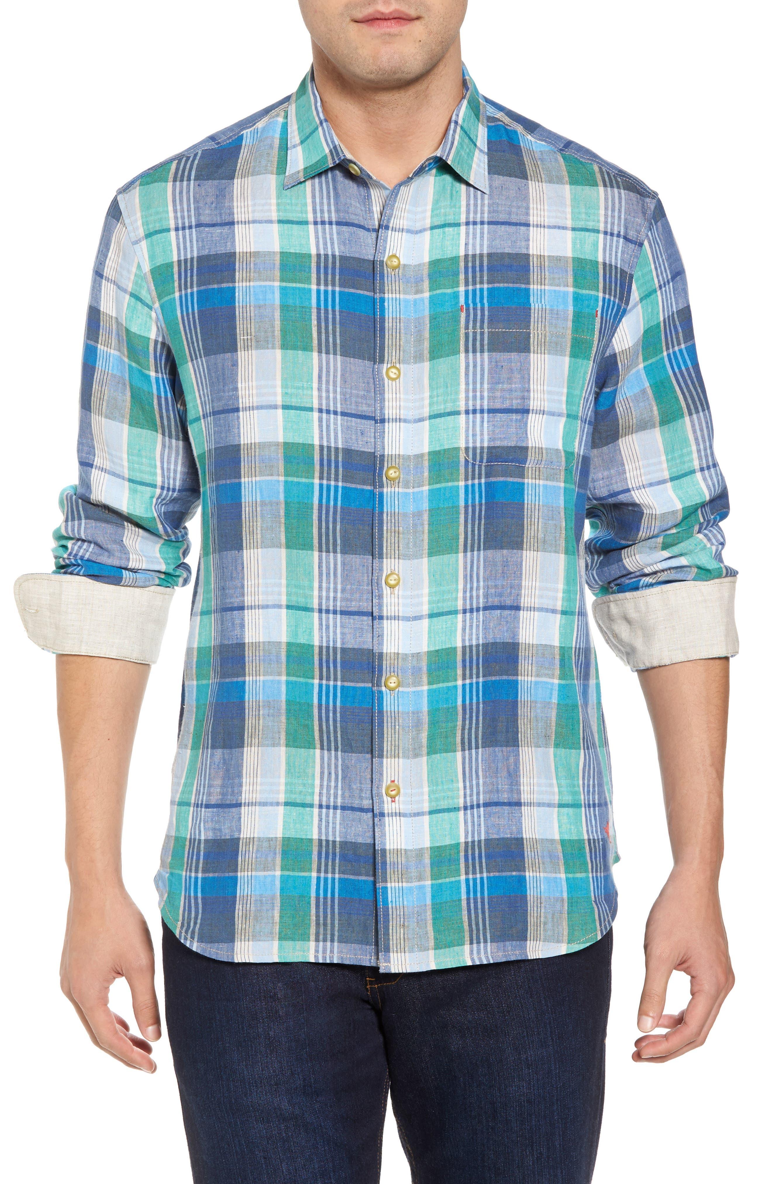Vero Beach Madras Plaid Linen Sport Shirt,                         Main,                         color, Castaway Green