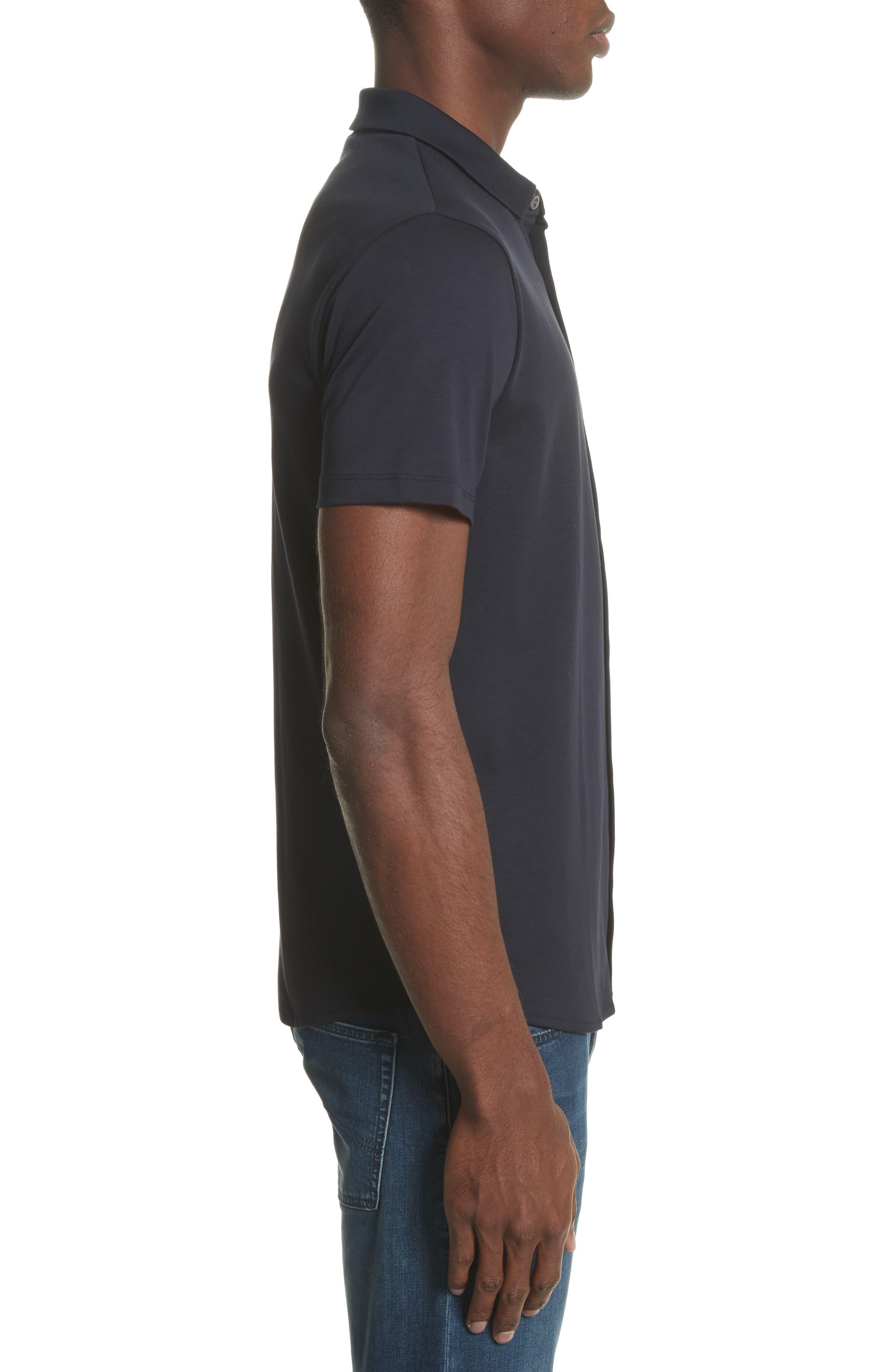 Slim Fit Cotton Knit Sport Shirt,                             Alternate thumbnail 3, color,                             Blue Navy