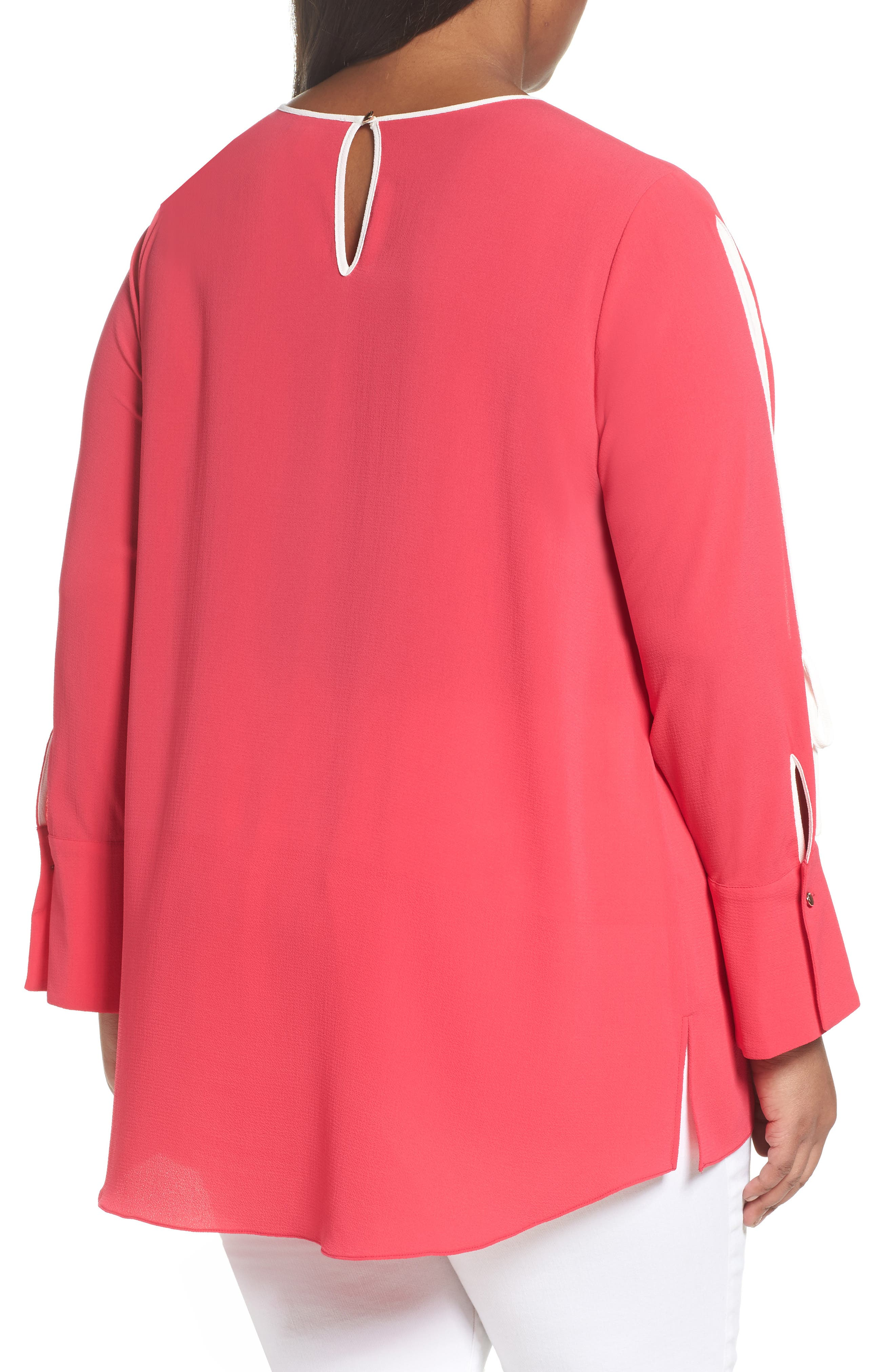 Bell Cuff Split Sleeve Shirt,                             Alternate thumbnail 2, color,                             Vibrant Pink