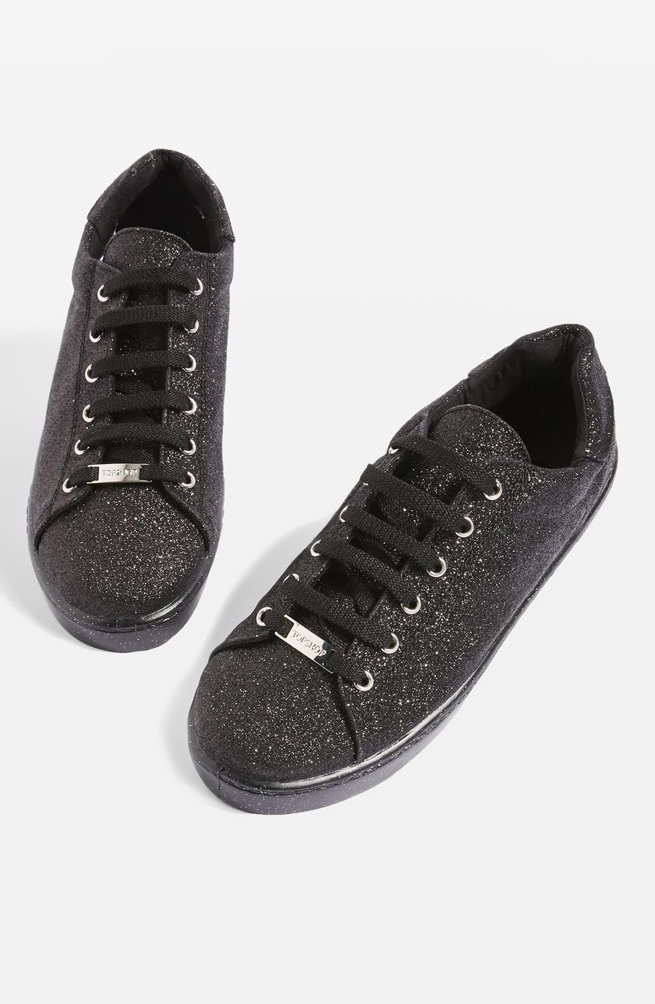 Champagne Glitter Sneaker,                         Main,                         color, Black