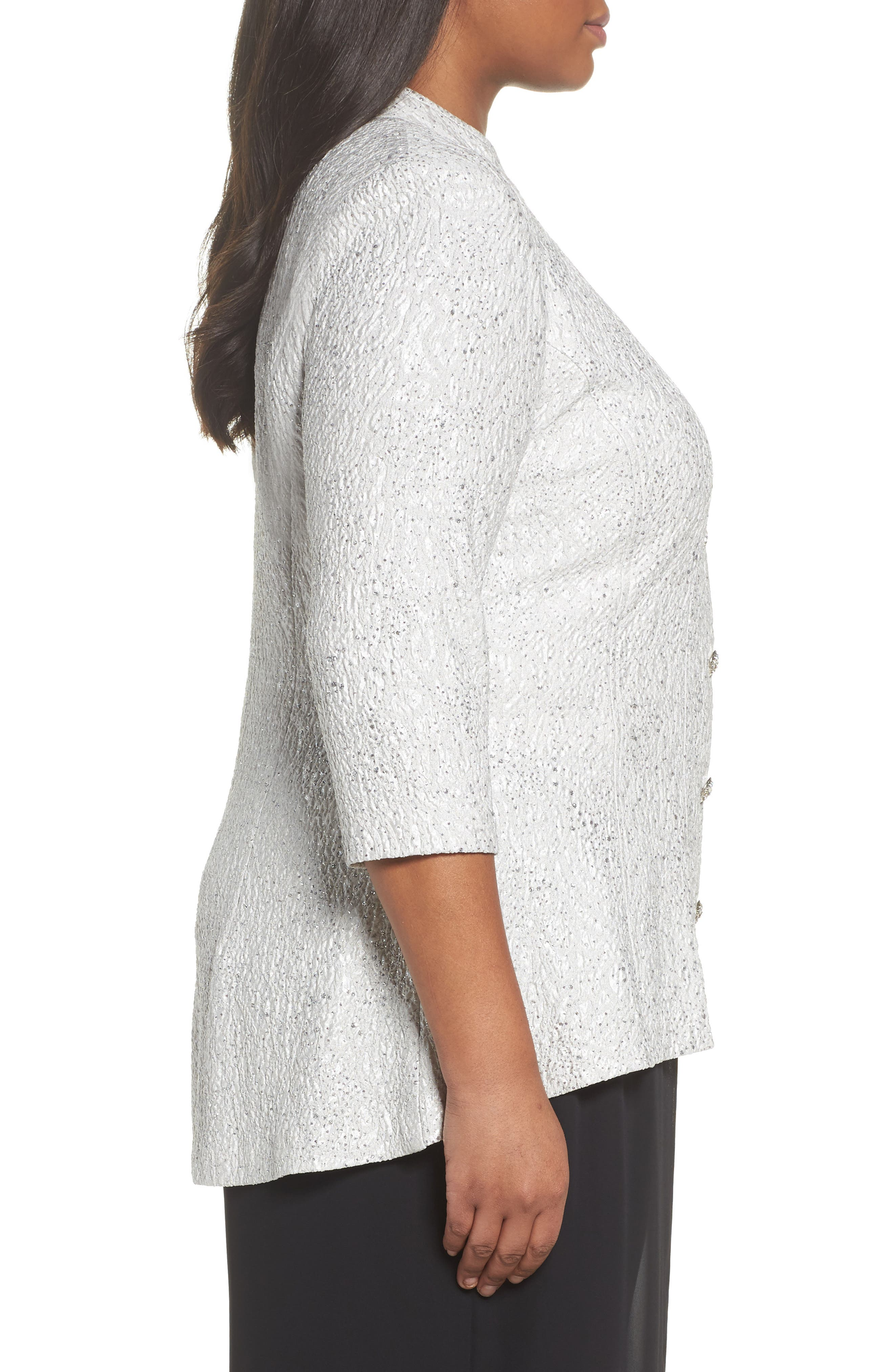 Alternate Image 3  - Alex Evenings Mandarin Collar Shimmer Jacket (Plus Size)