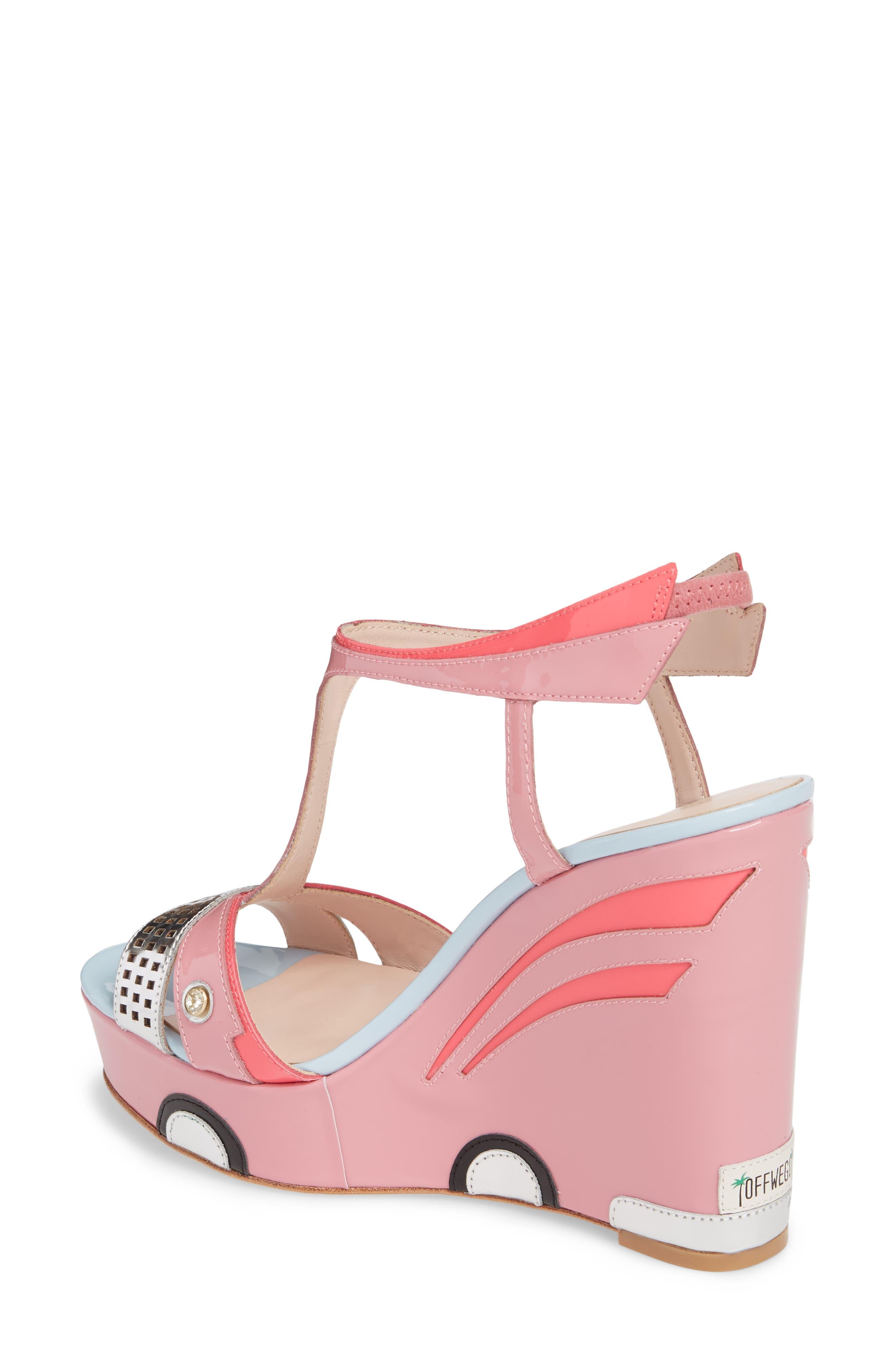 deanna wedge t-strap sandal,                             Alternate thumbnail 2, color,                             Petunia Patent