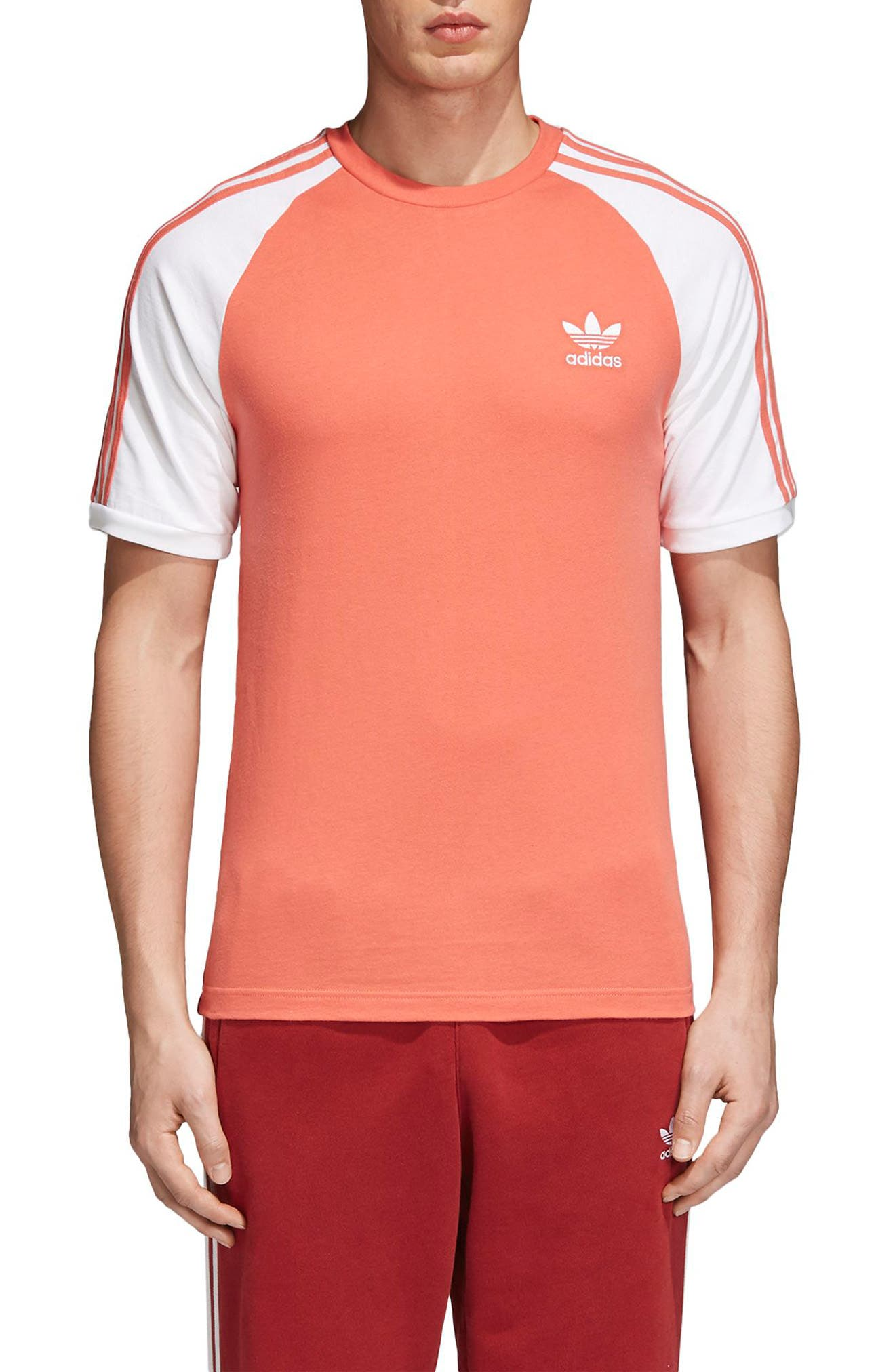 3-Stripes T-Shirt,                         Main,                         color, Trace Scarlet
