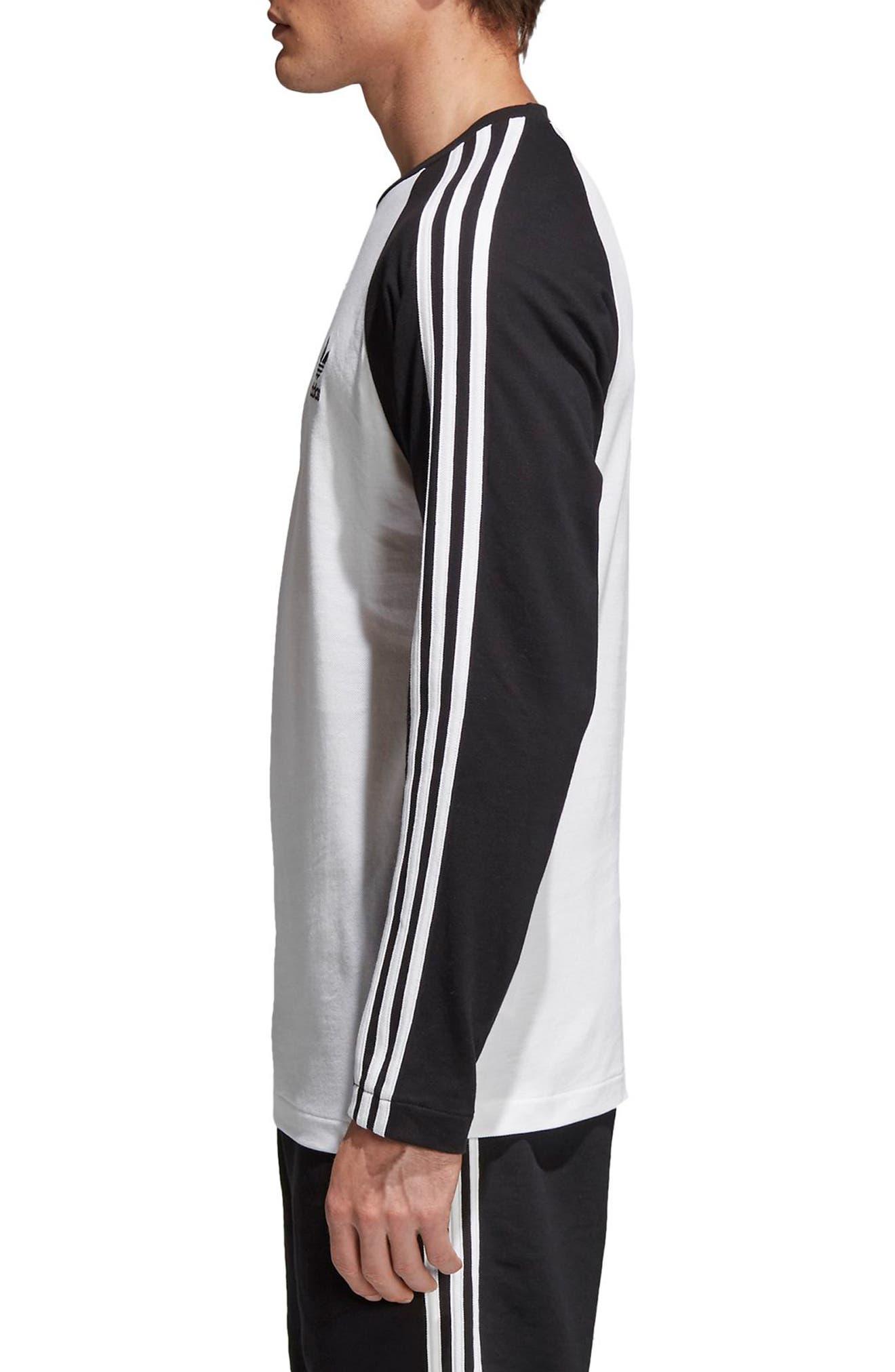 3-Stripes Long Sleeve T-Shirt,                             Alternate thumbnail 3, color,                             Black