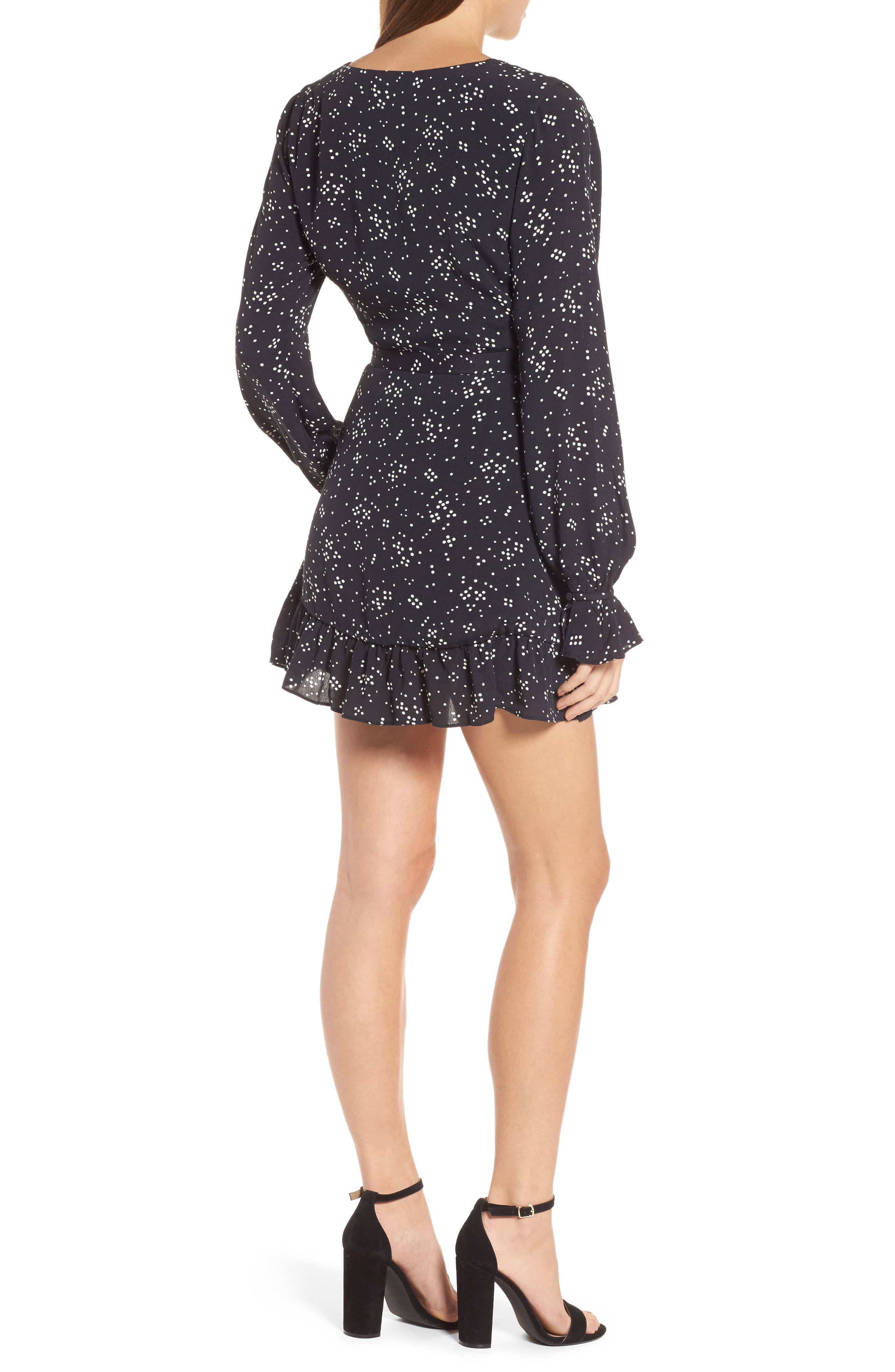 Cane Wrap Minidress,                             Alternate thumbnail 2, color,                             Night Sky Dot