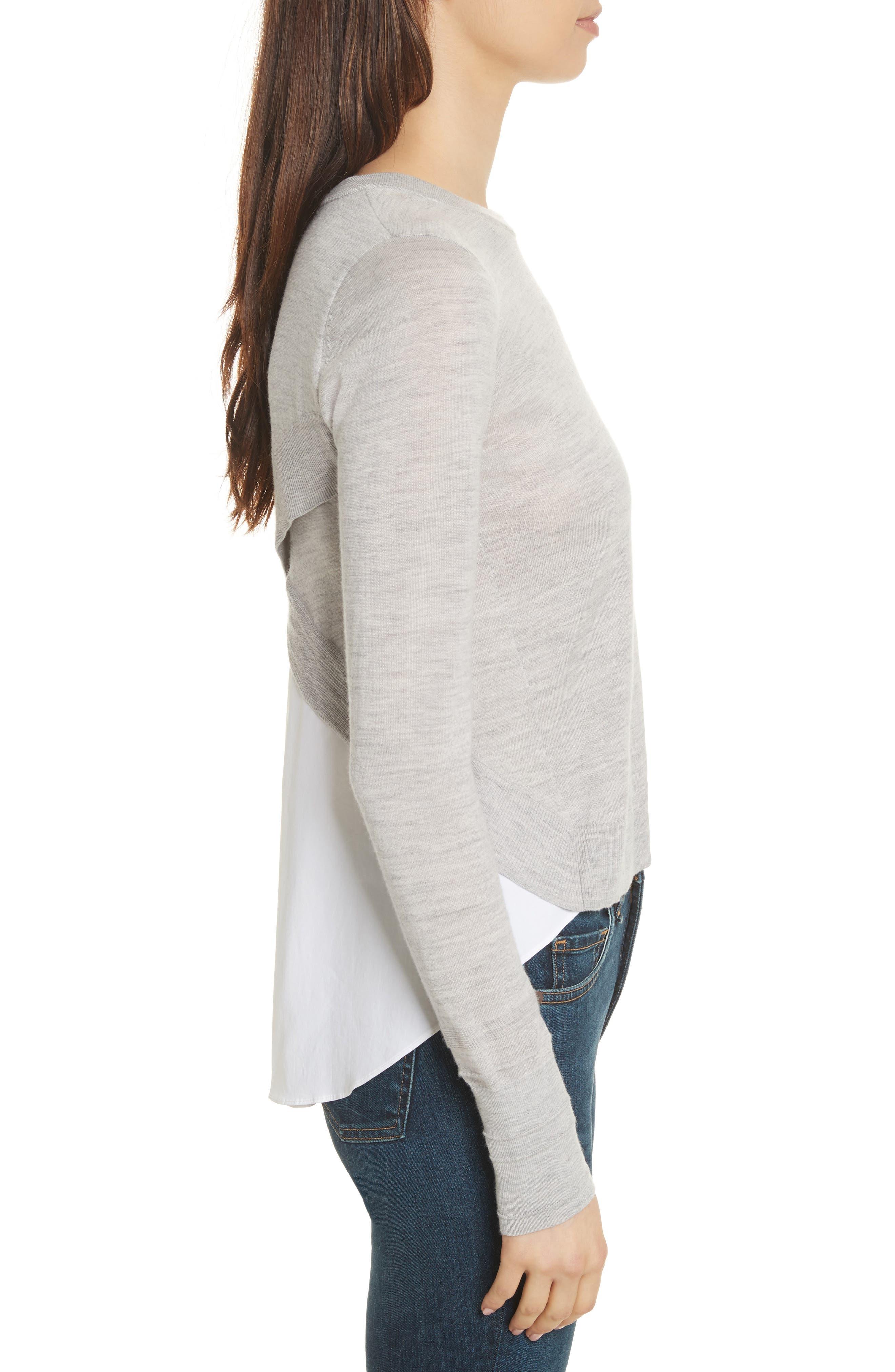 Alma Mixed Media Sweater,                             Alternate thumbnail 3, color,                             Heather Grey