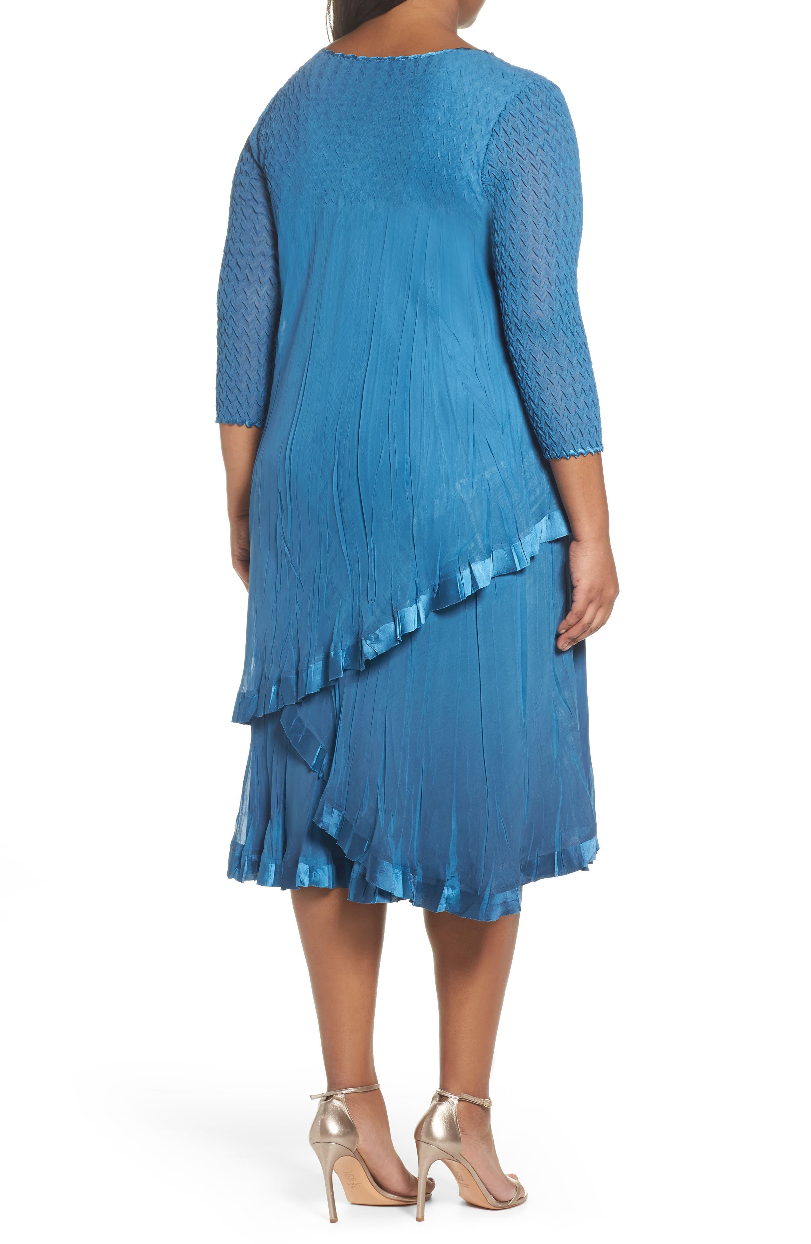 Dress Tiered Chiffon & Charmeuse Dress,                             Alternate thumbnail 2, color,                             Blue Dusk Night Ombre