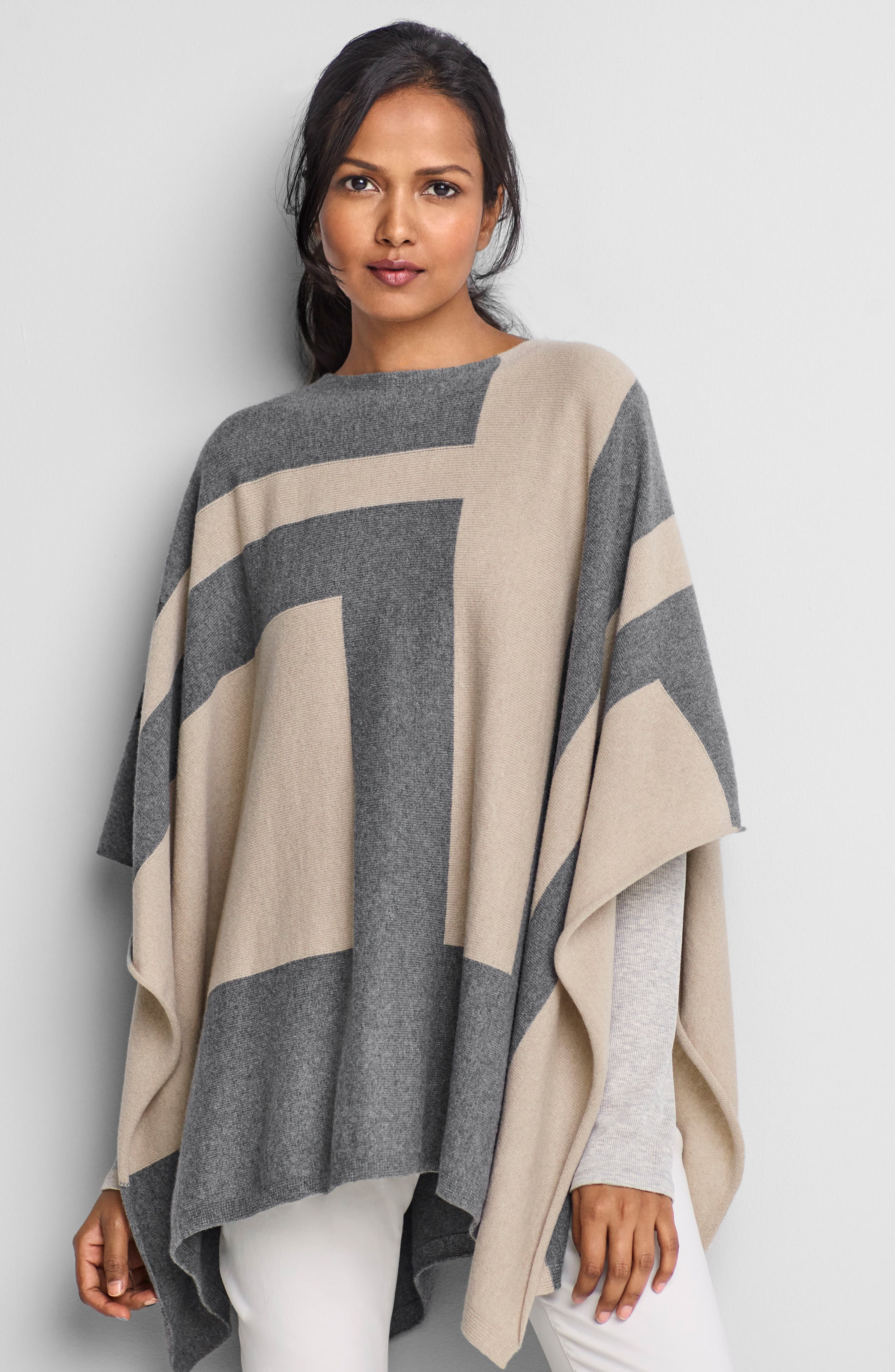 Alternate Image 2  - Eileen Fisher Colorblock Cashmere Blend Poncho