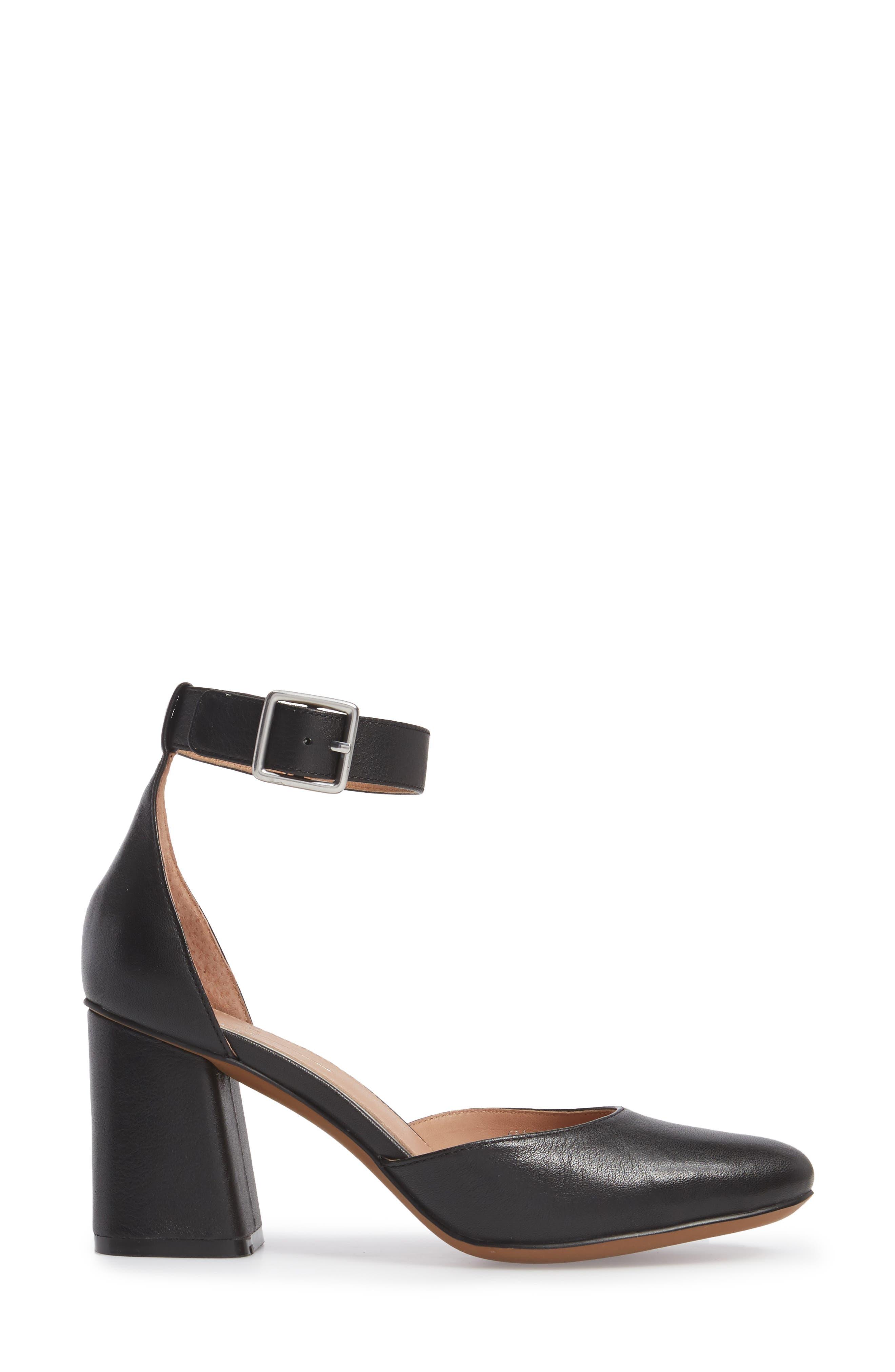 Maya Ankle Strap Pump,                             Alternate thumbnail 3, color,                             Black Leather