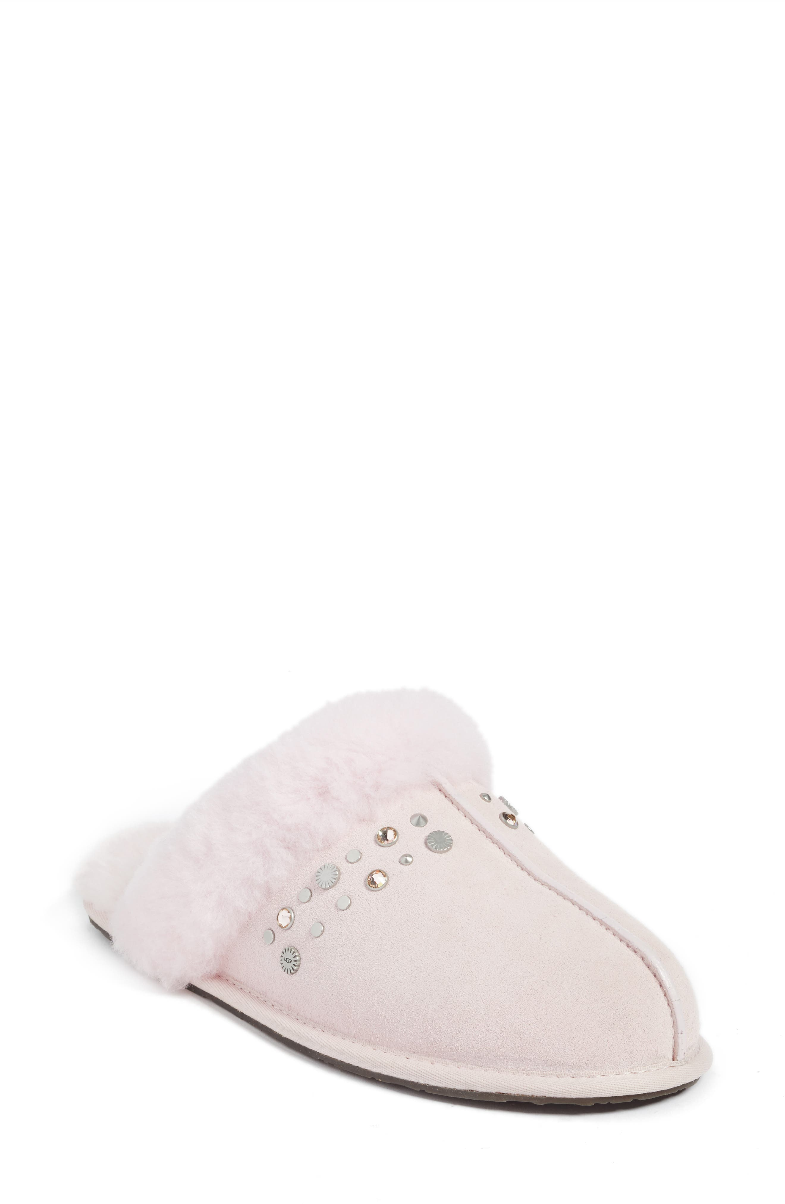 Fuzzy White and Metallic Gold Ladies Slippers - Size Large