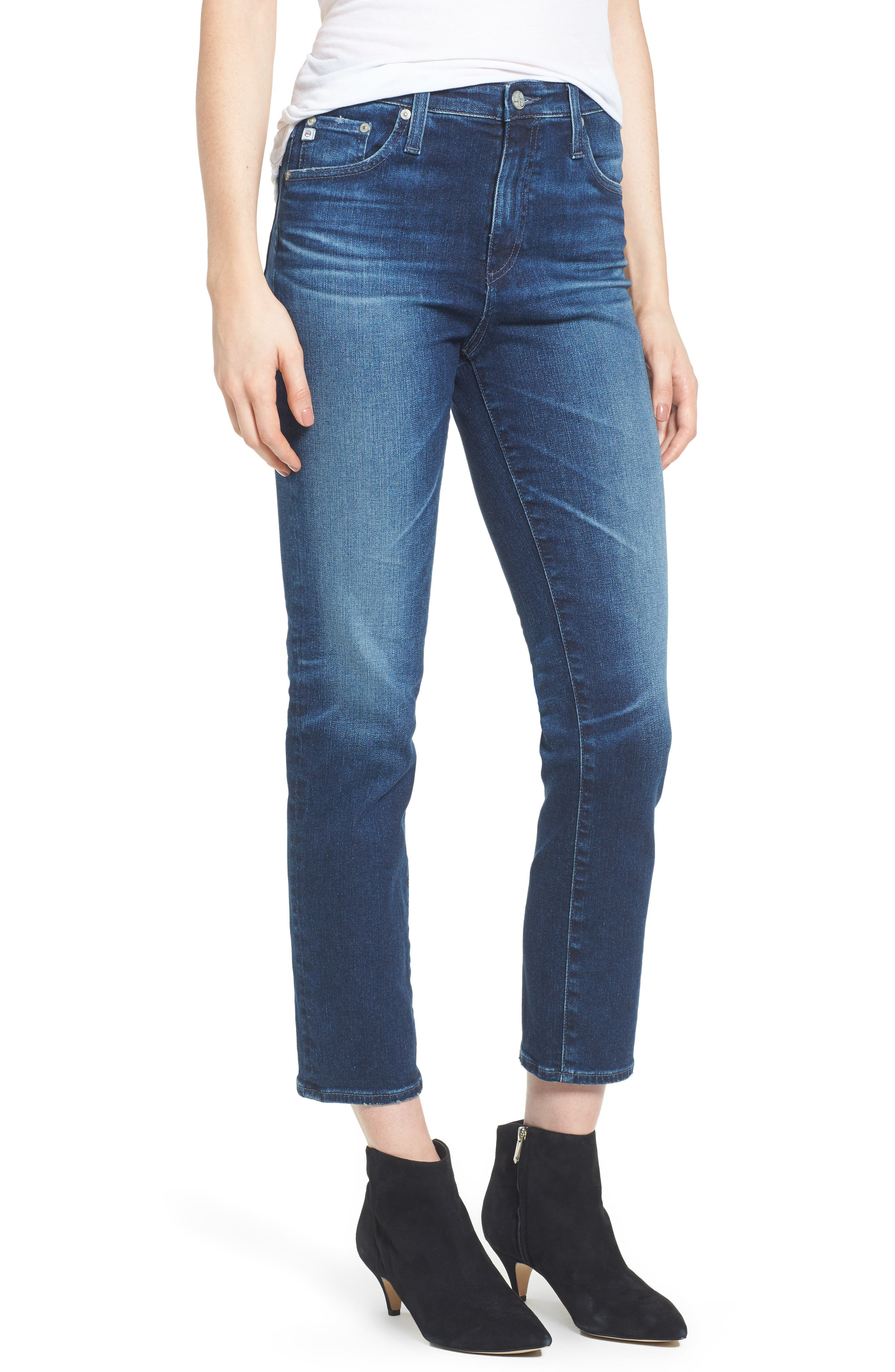 Alternate Image 1 Selected - AG The Isabelle High Waist Crop Straight Leg Jeans (8 Years Ocean Tropic)