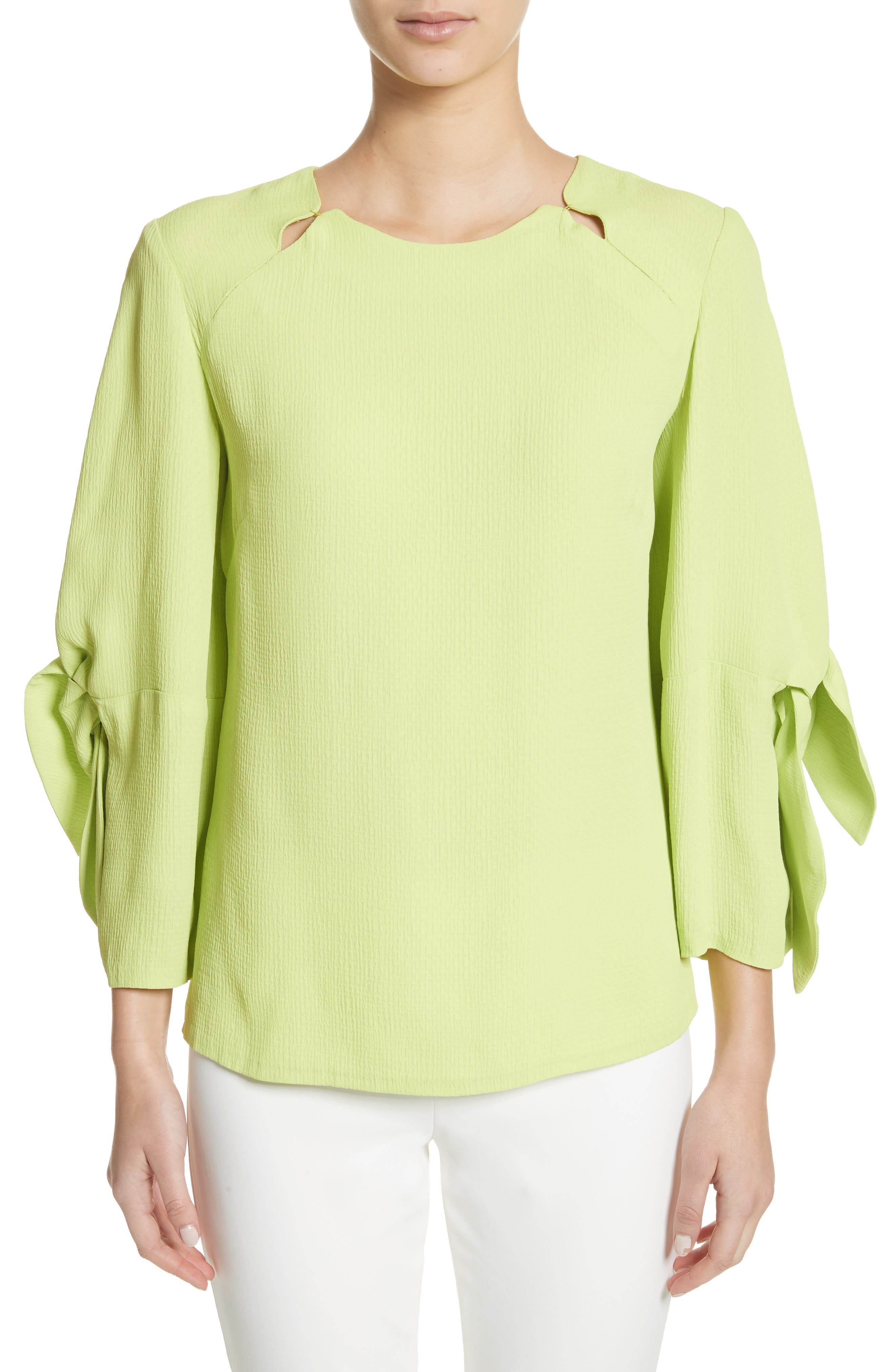 Tie Sleeve Top,                         Main,                         color, Lime