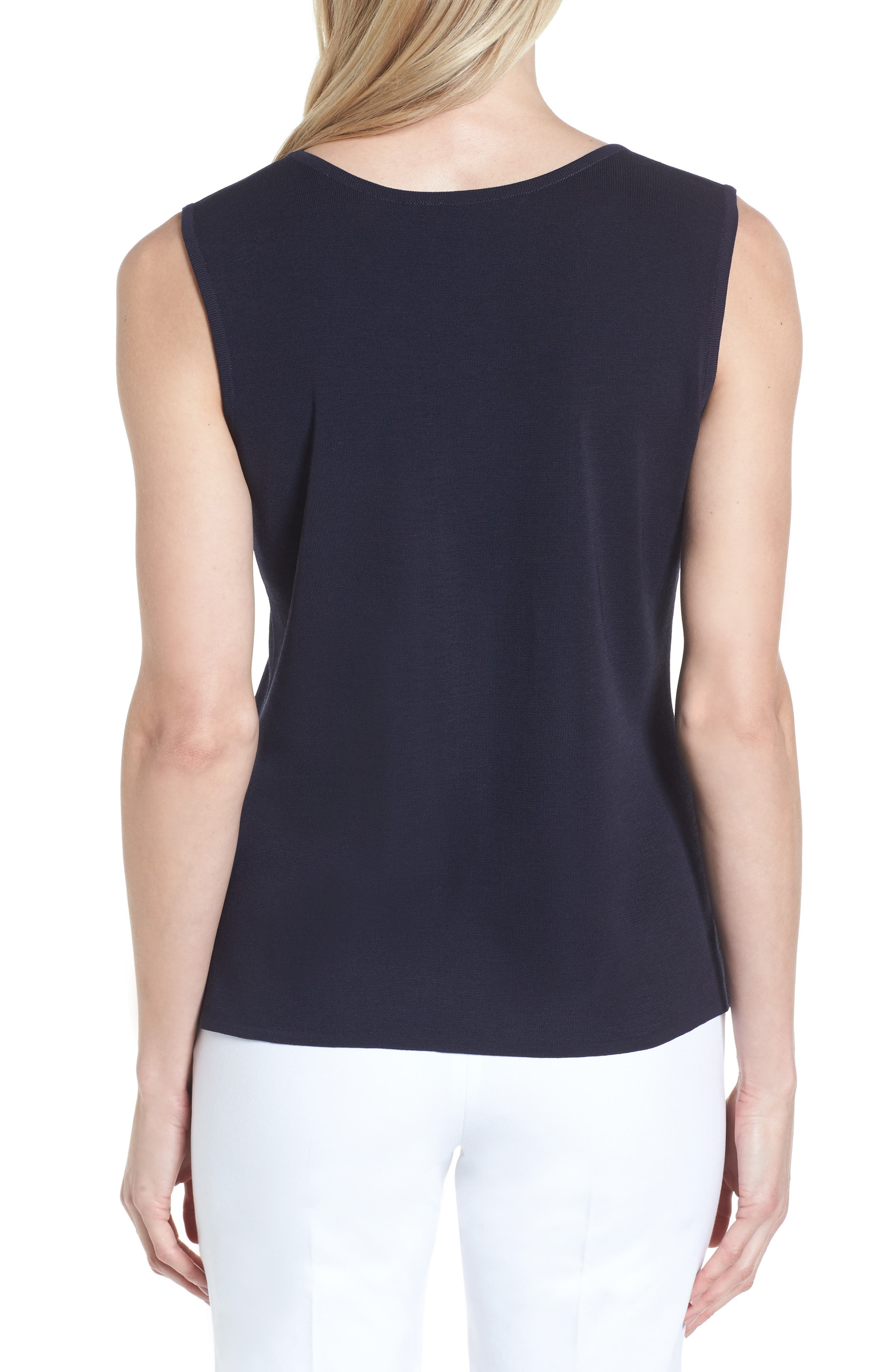 Scoop Neck Knit Tank,                             Alternate thumbnail 2, color,                             Navy