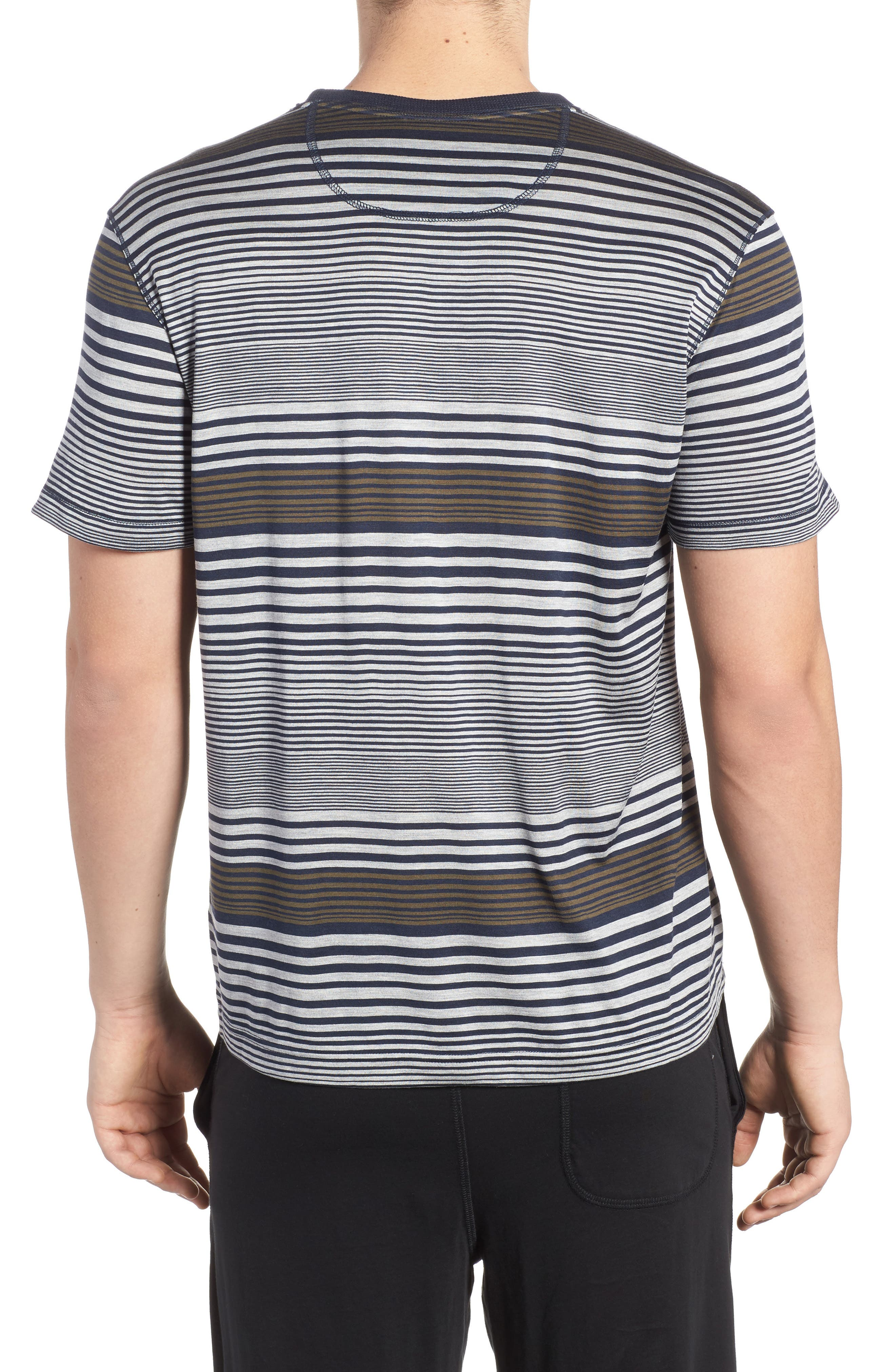 Stripe Silk & Cotton T-Shirt,                             Alternate thumbnail 2, color,                             Midnight/ Grey/ Army