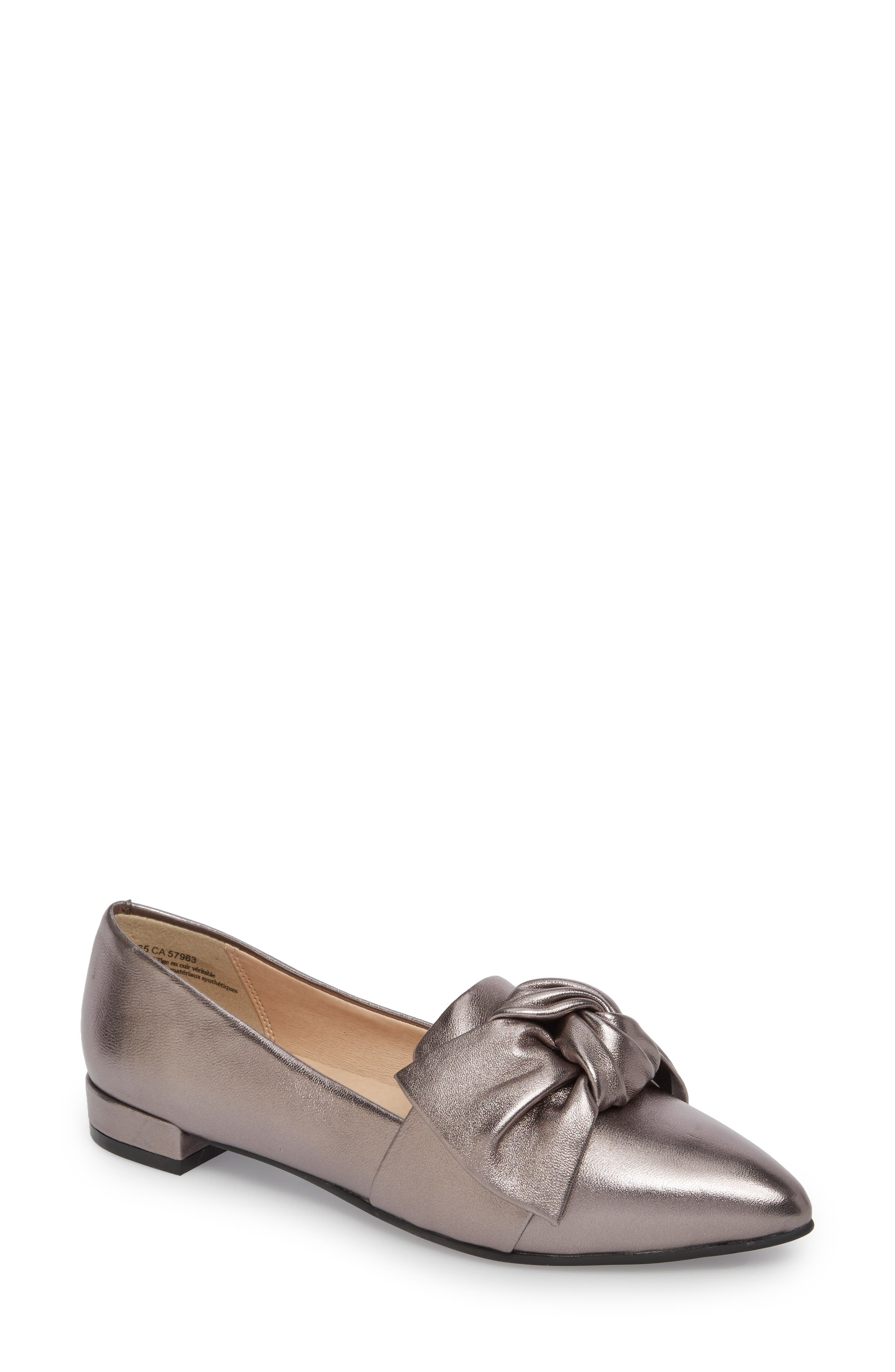 Kari Bow Loafer,                         Main,                         color, Pewter Metallic Leather