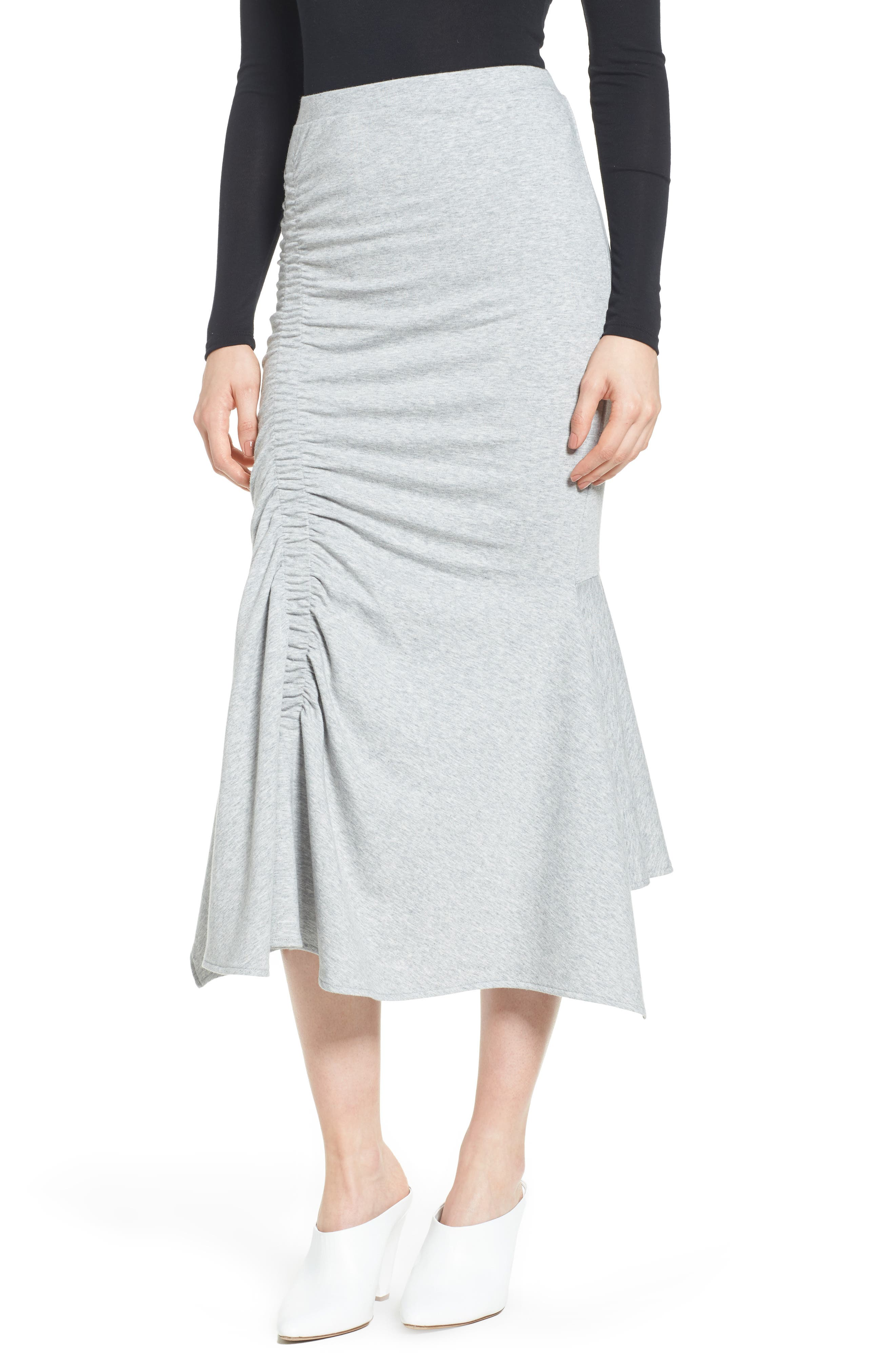 Ruched Fluted Midi Skirt,                             Main thumbnail 1, color,                             Grey Heather