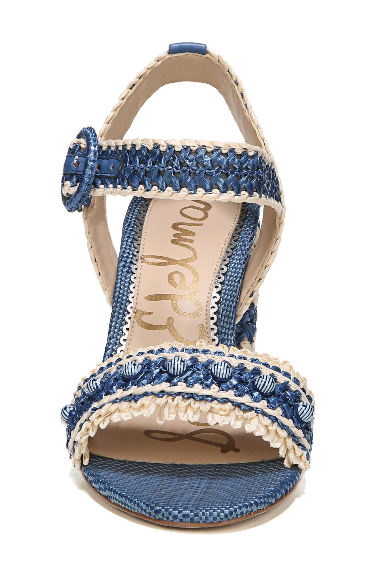 Olisa Block Heel Sandal,                             Alternate thumbnail 4, color,                             Denim Blue