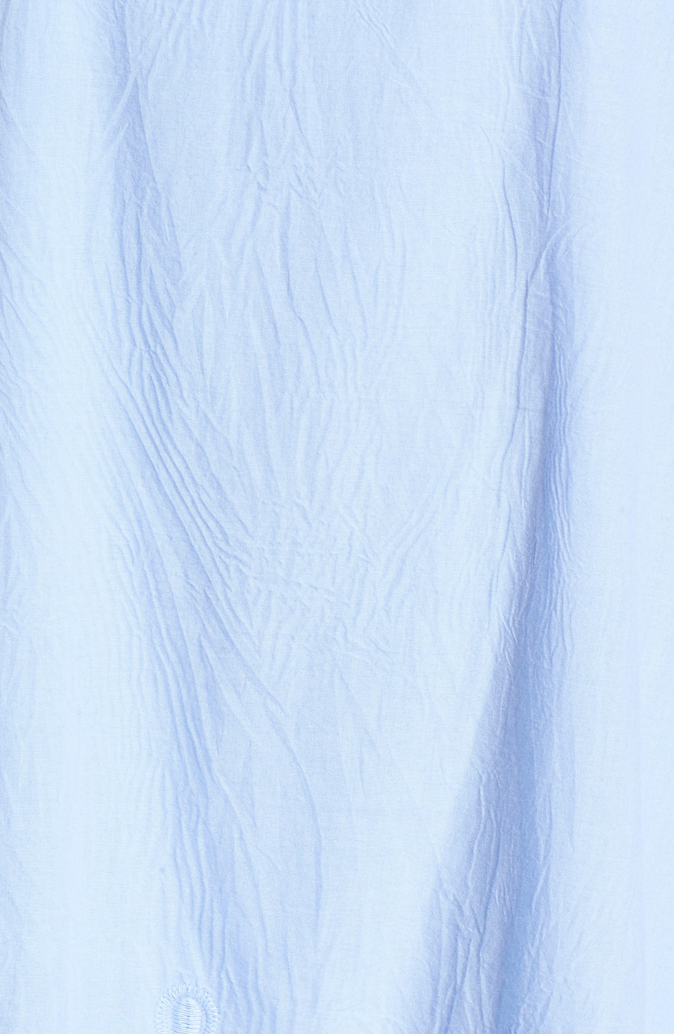 Lace Trim Off the Shoulder Dress,                             Alternate thumbnail 5, color,                             Blue Powder