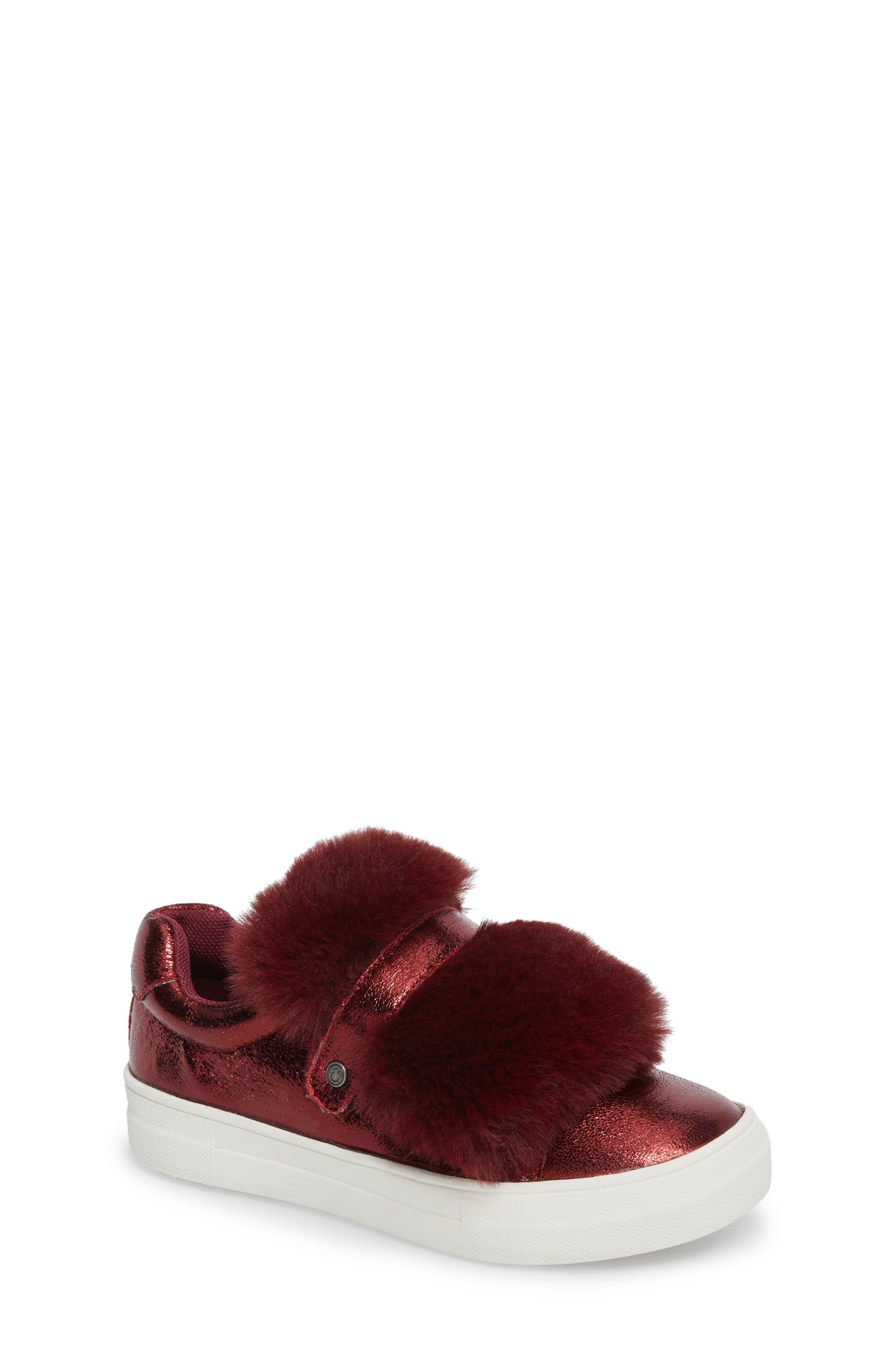 Zandra Faux Fur Metallic Sneaker,                         Main,                         color, Burgundy Faux Leather