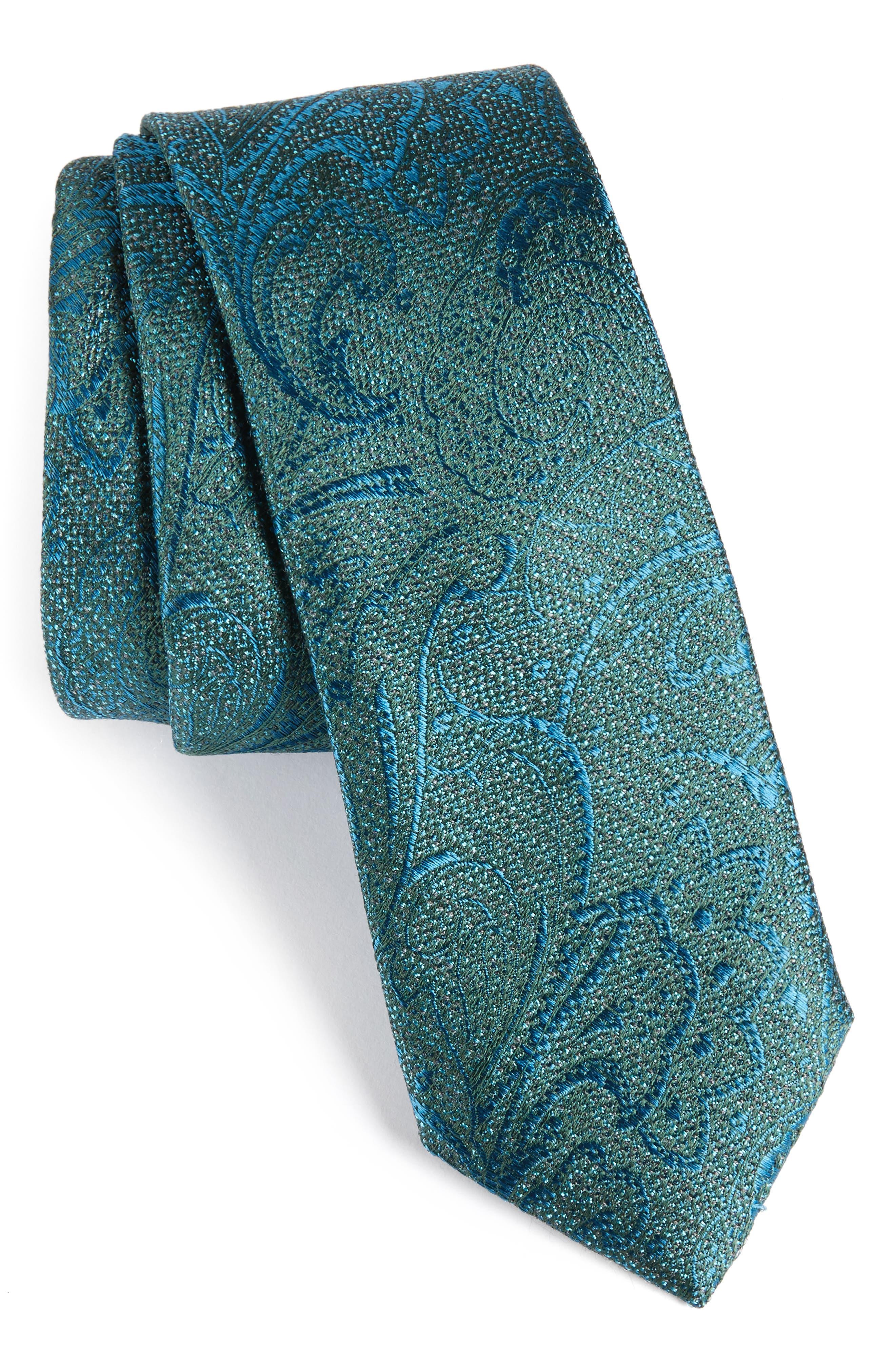 Hawkins Botanical Silk Tie,                         Main,                         color, Teal
