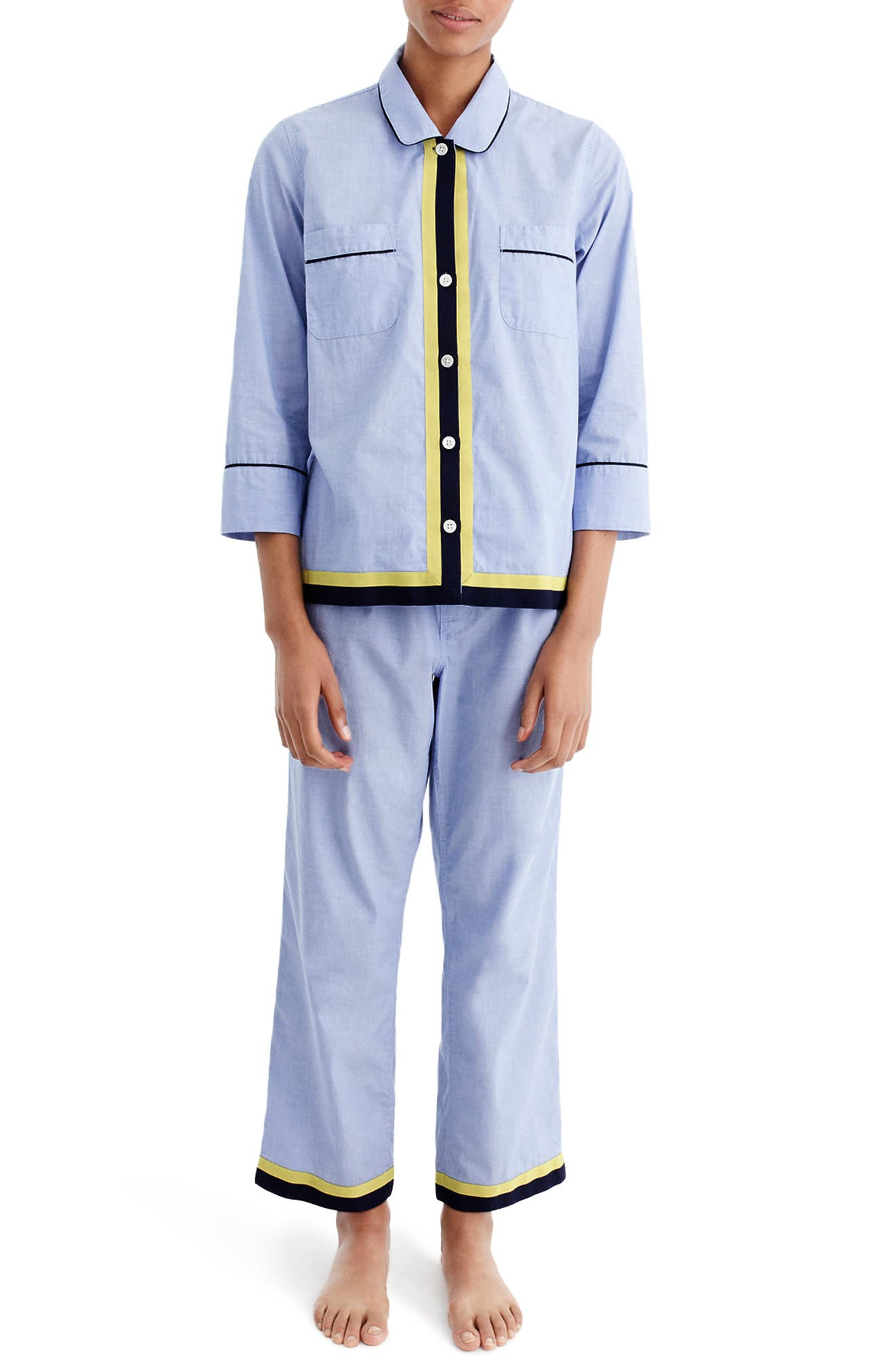 Grosgrain Trim Cotton Pajamas,                         Main,                         color, Hydrangea