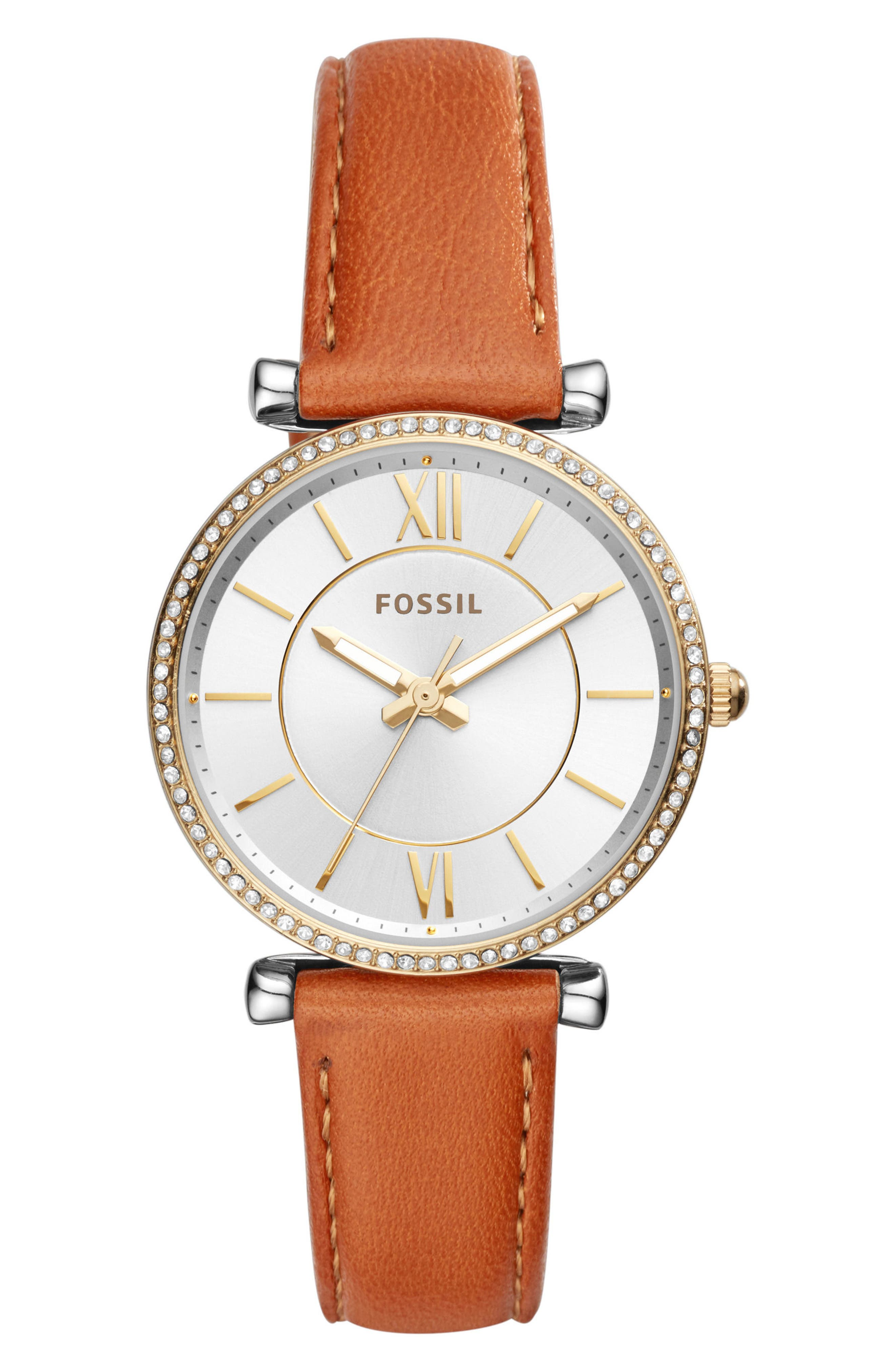 Main Image - Fossil Carlie T-Bar Crystal Leather Strap Watch, 35mm
