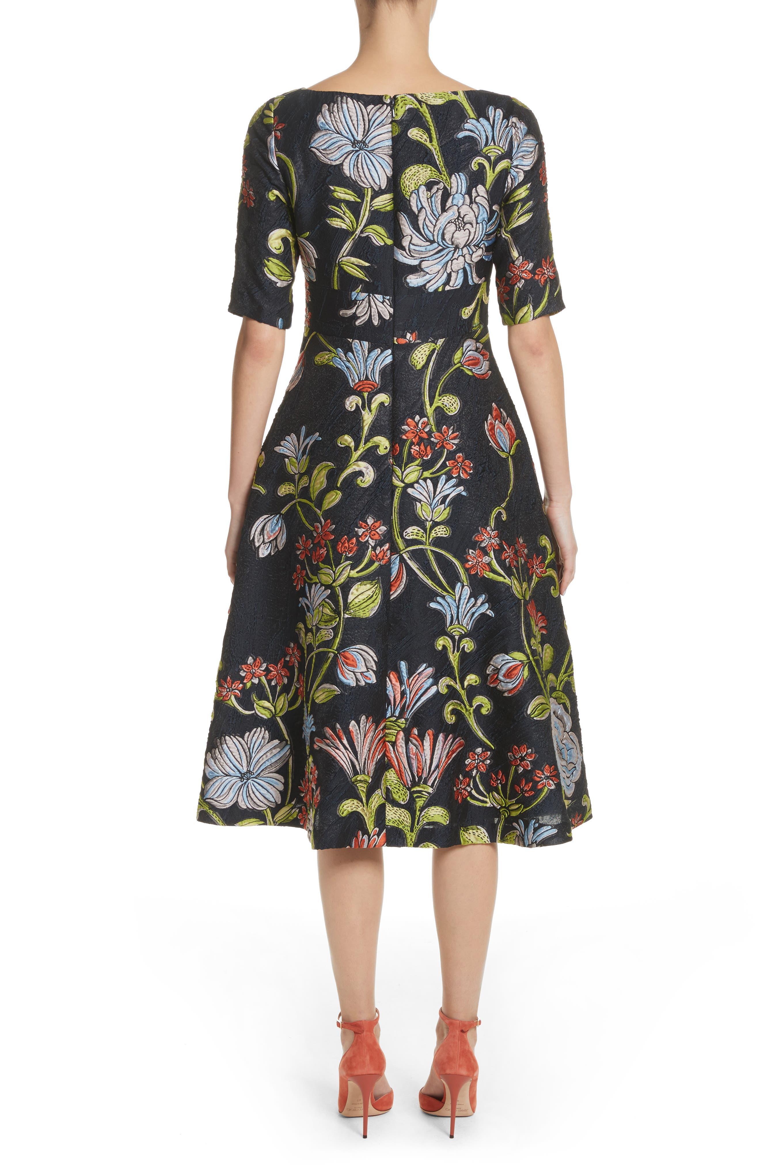 Floral Matelassé A-Line Dress,                             Alternate thumbnail 2, color,                             Navy Multi