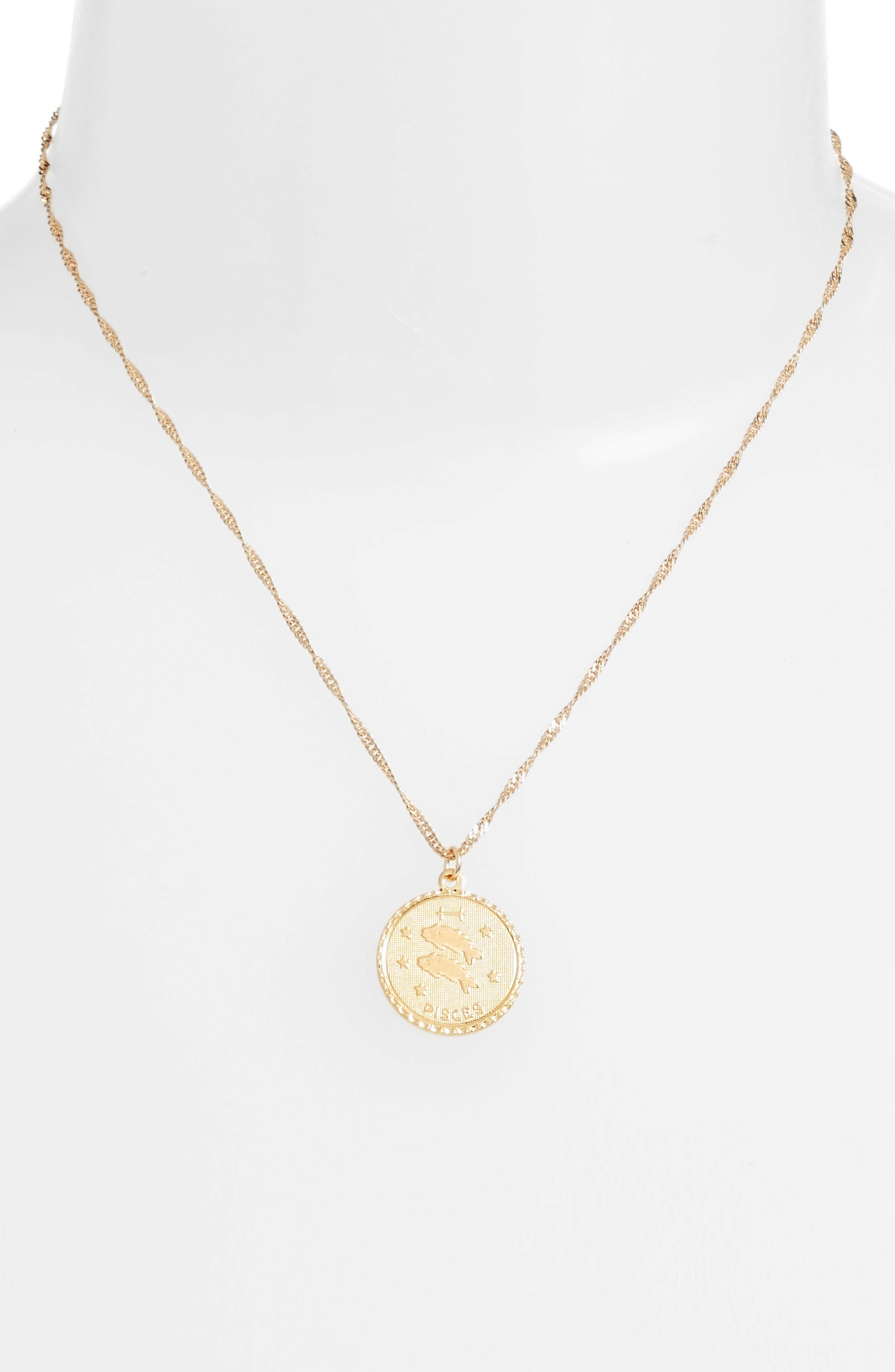 Ascending Pisces Pendant Necklace,                             Alternate thumbnail 2, color,                             Yellow Gold