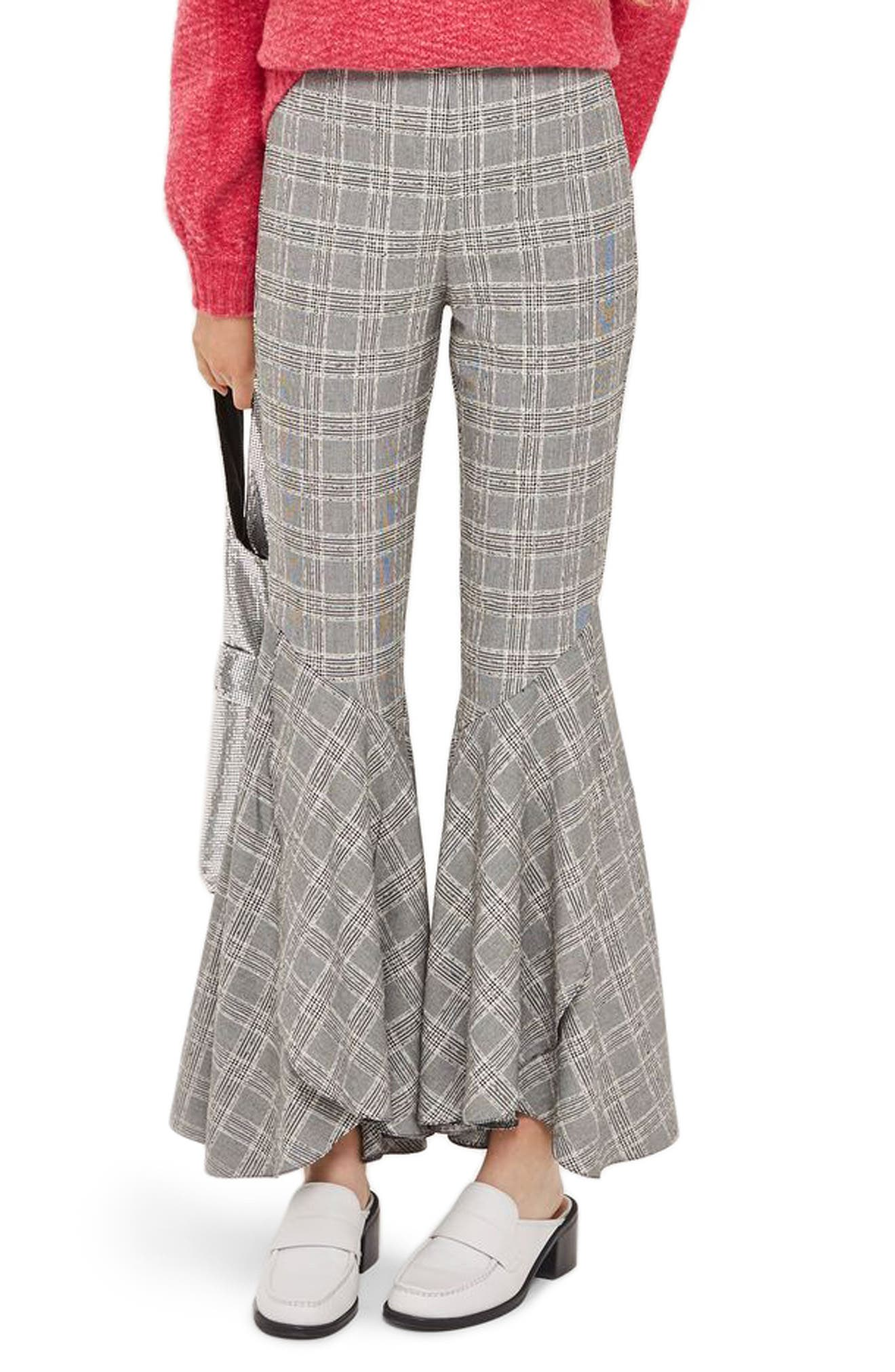 Main Image - Topshop Checked Super Flare Trousers