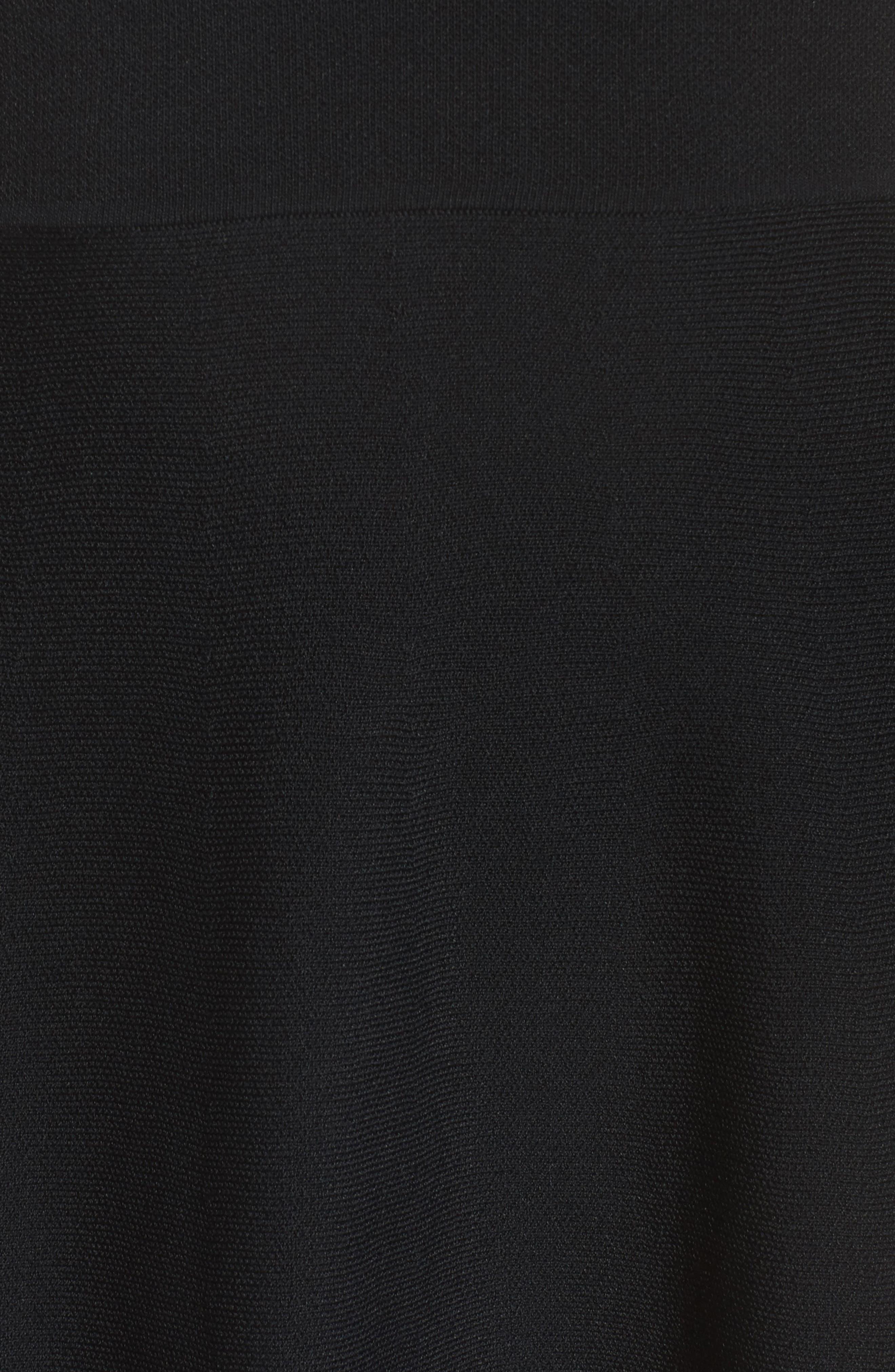 Cold Shoulder Fit & Flare Dress,                             Alternate thumbnail 5, color,                             Black