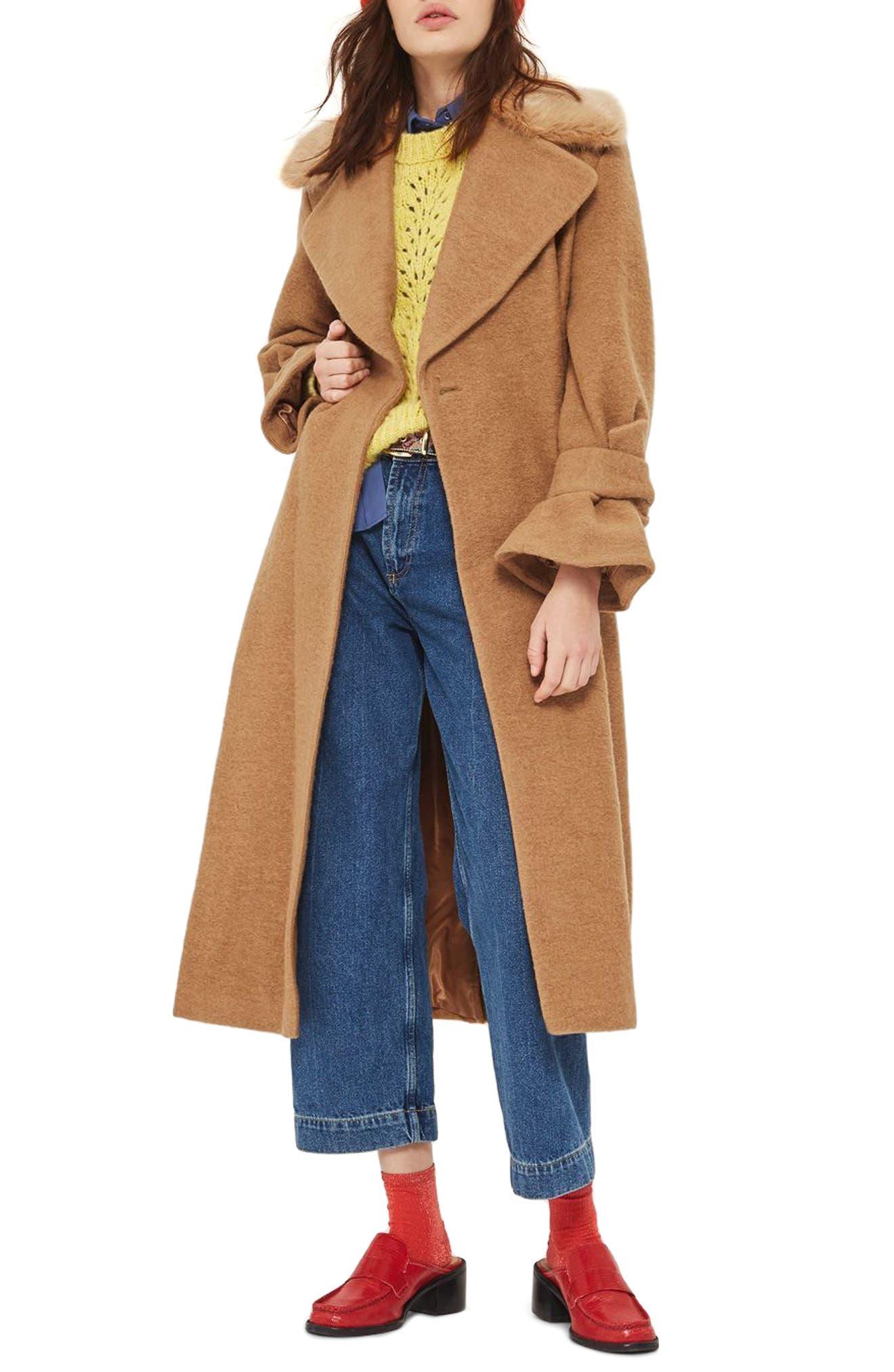 Topshop Faux Fur Collar Belted Wool Blend Coat
