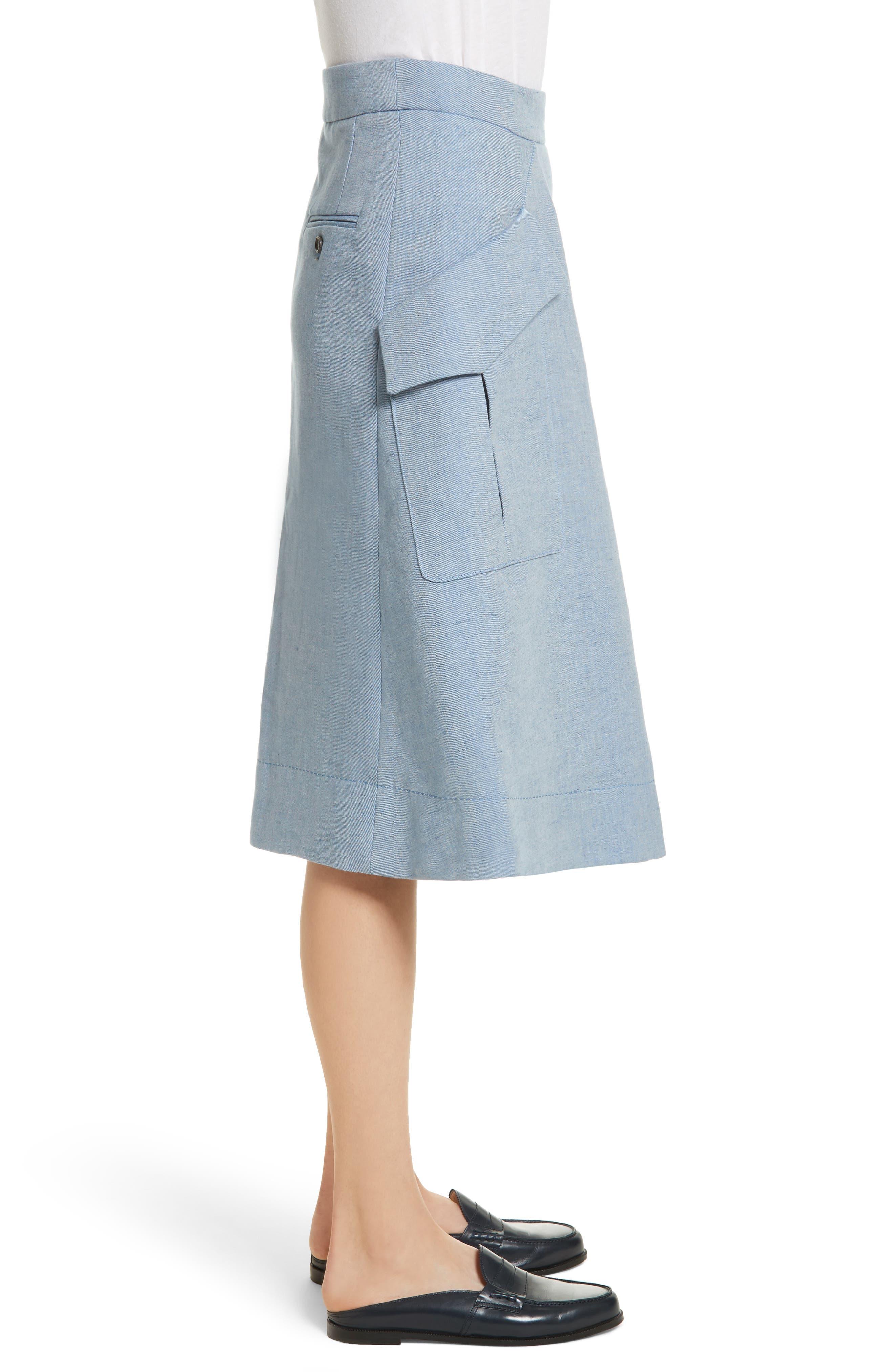 Jupe Genou Skirt,                             Alternate thumbnail 3, color,                             Bleu Acier