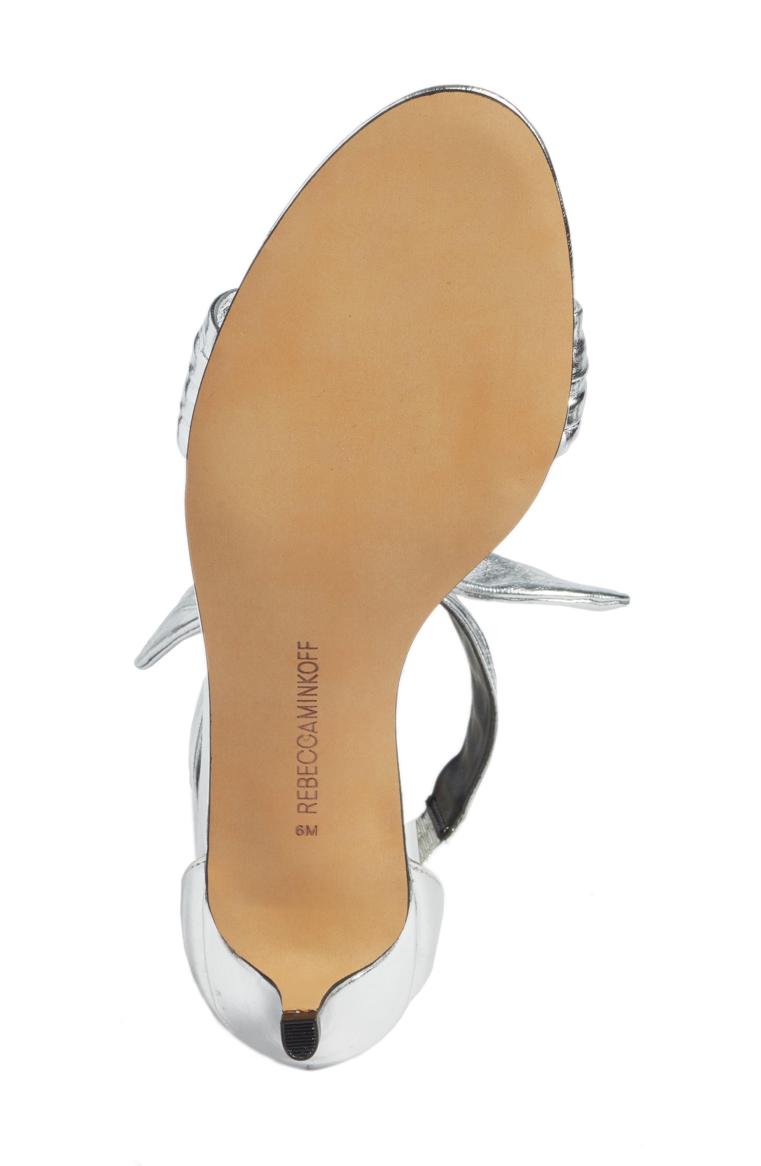 Kaley Knotted Kitten Heel Sandal,                             Alternate thumbnail 6, color,                             Silver Metallic Leather