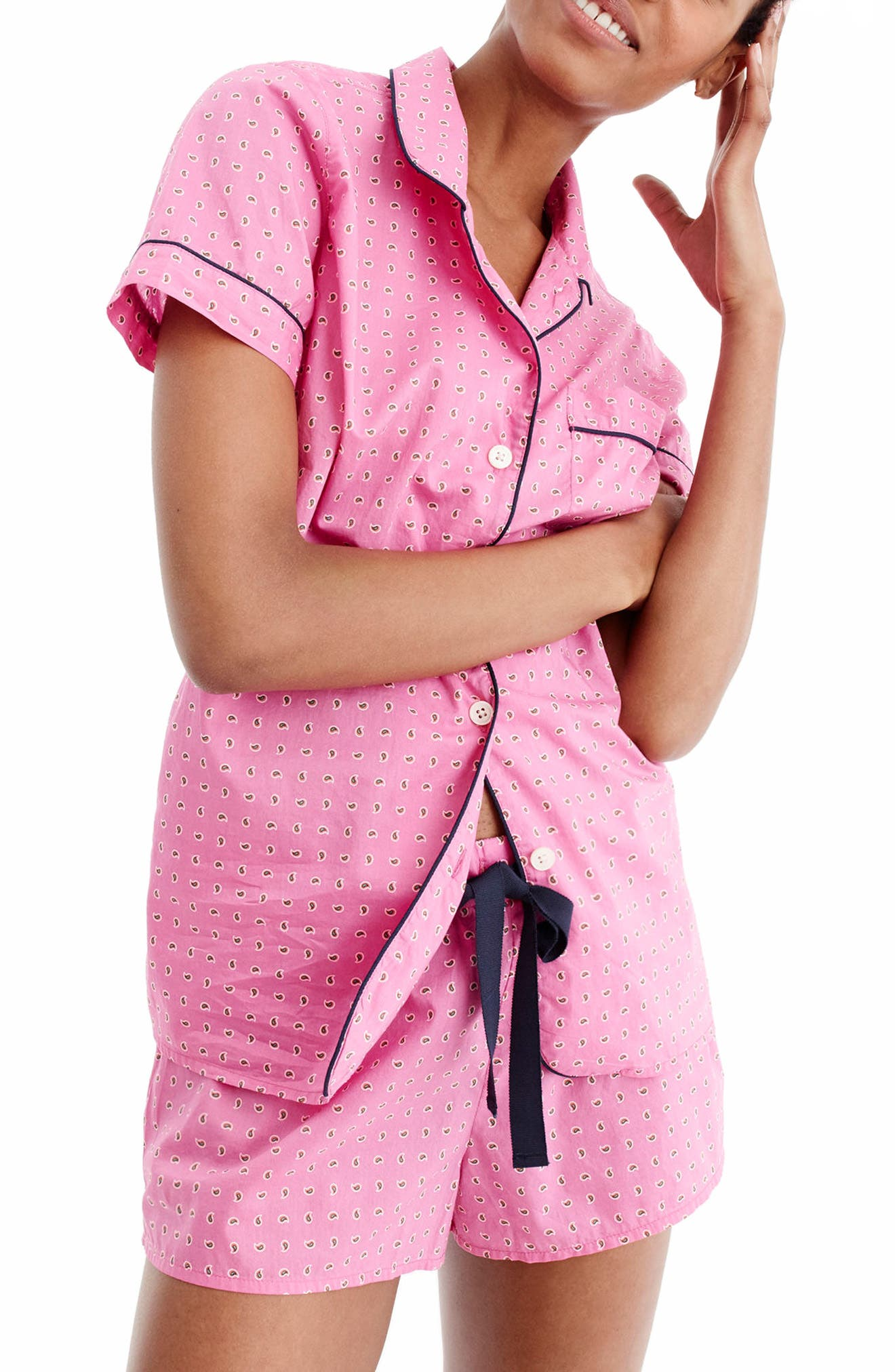 J.Crew Short Cotton Pajamas,                         Main,                         color, Vivid Fuchsia