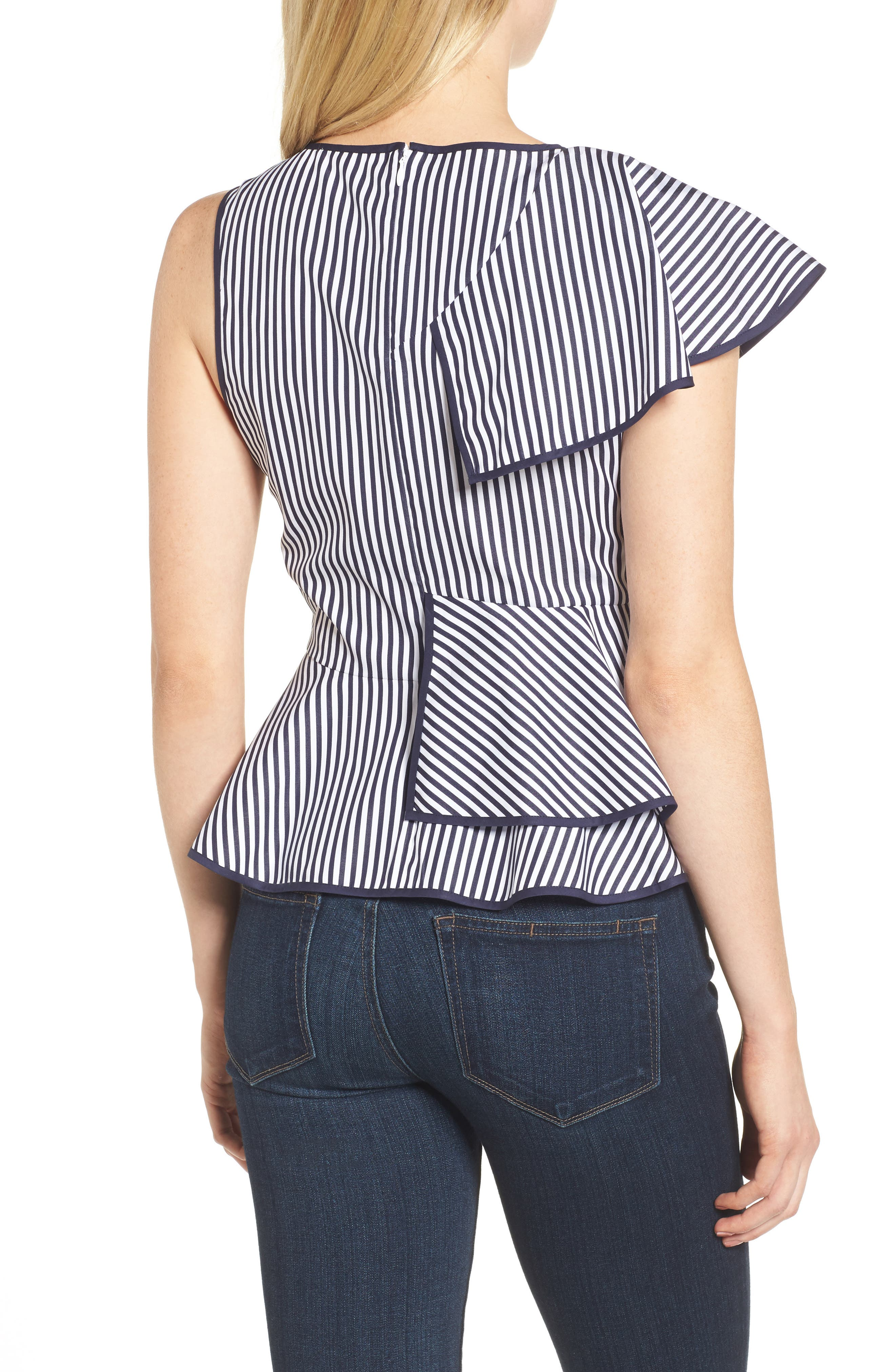 Carly Ruffle Top,                             Alternate thumbnail 2, color,                             Navy/ White