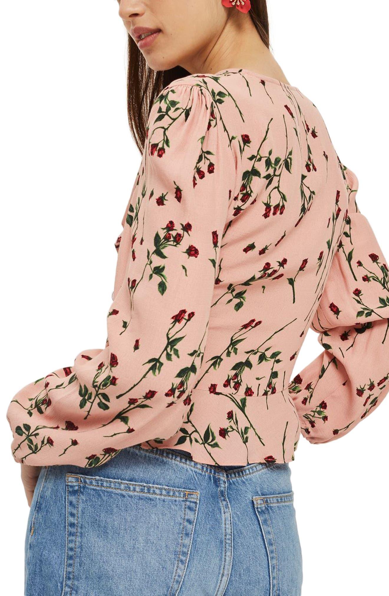 Rosebud Wrap Top,                             Alternate thumbnail 2, color,                             Pink Multi