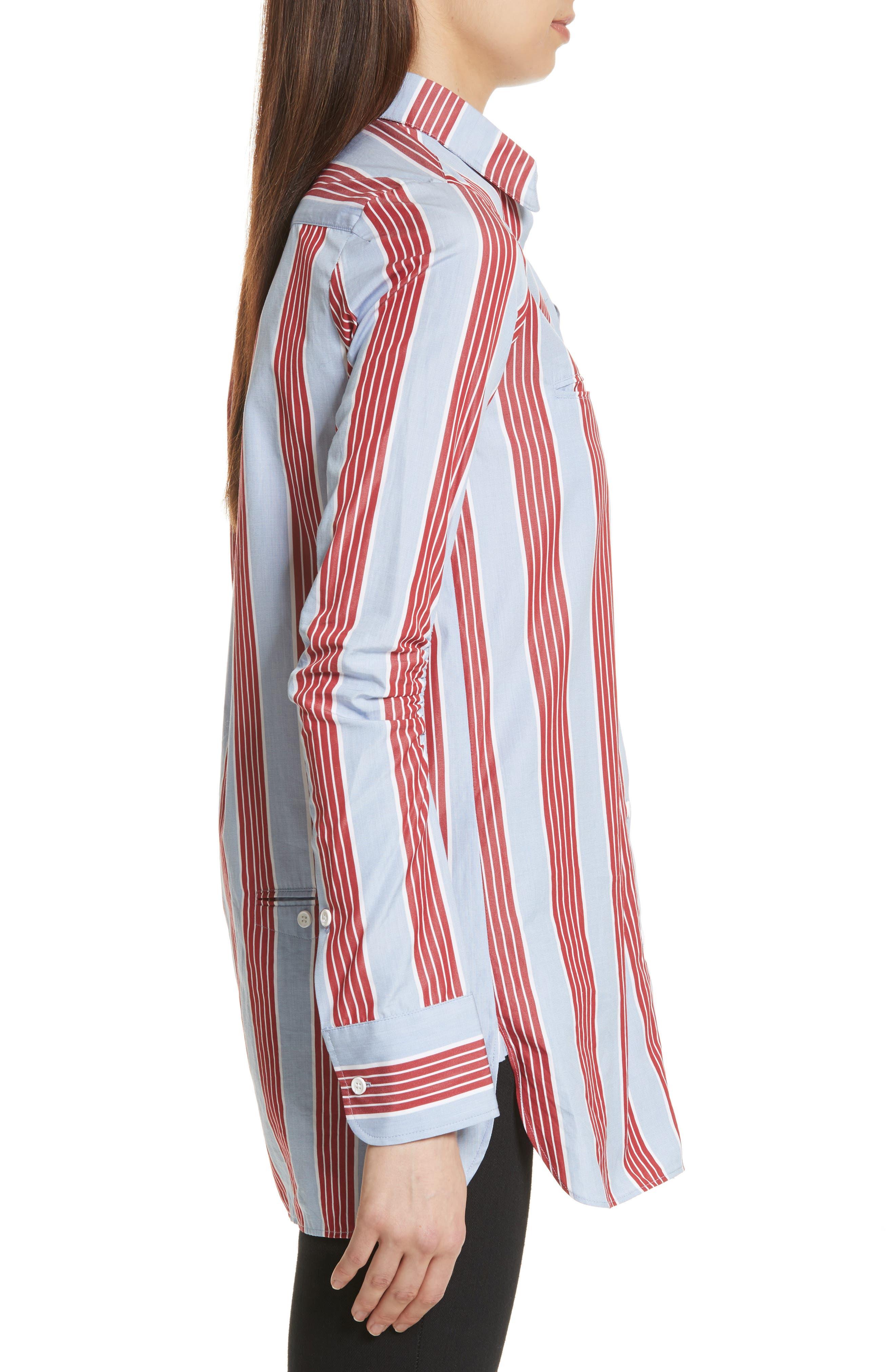 Chemise Manches Longues Stripe Shirt,                             Alternate thumbnail 3, color,                             Bleu Acier/ Rouge Fonce